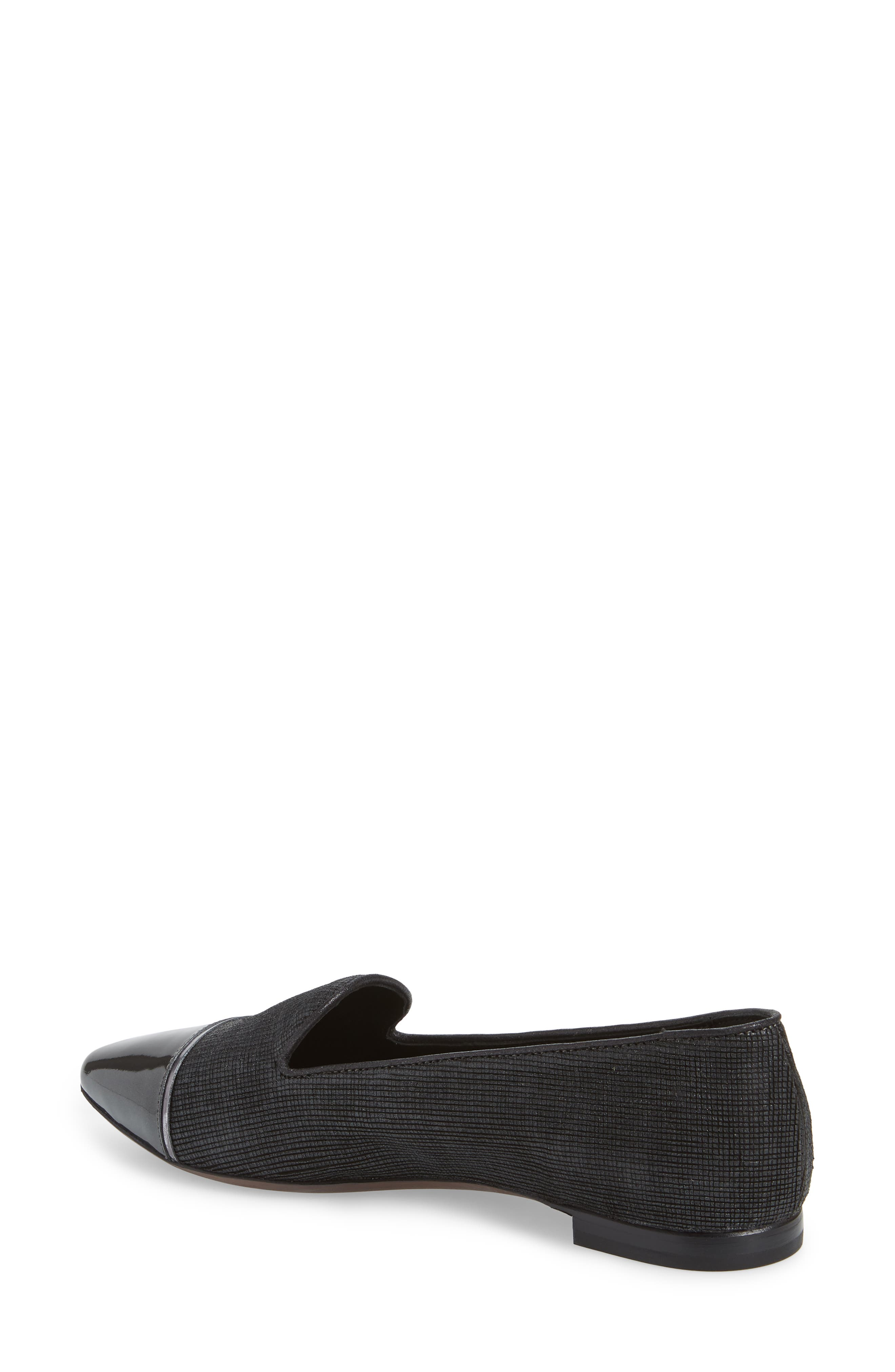 Cap Toe Loafer,                             Alternate thumbnail 2, color,                             BLACK FLAKED LEATHER