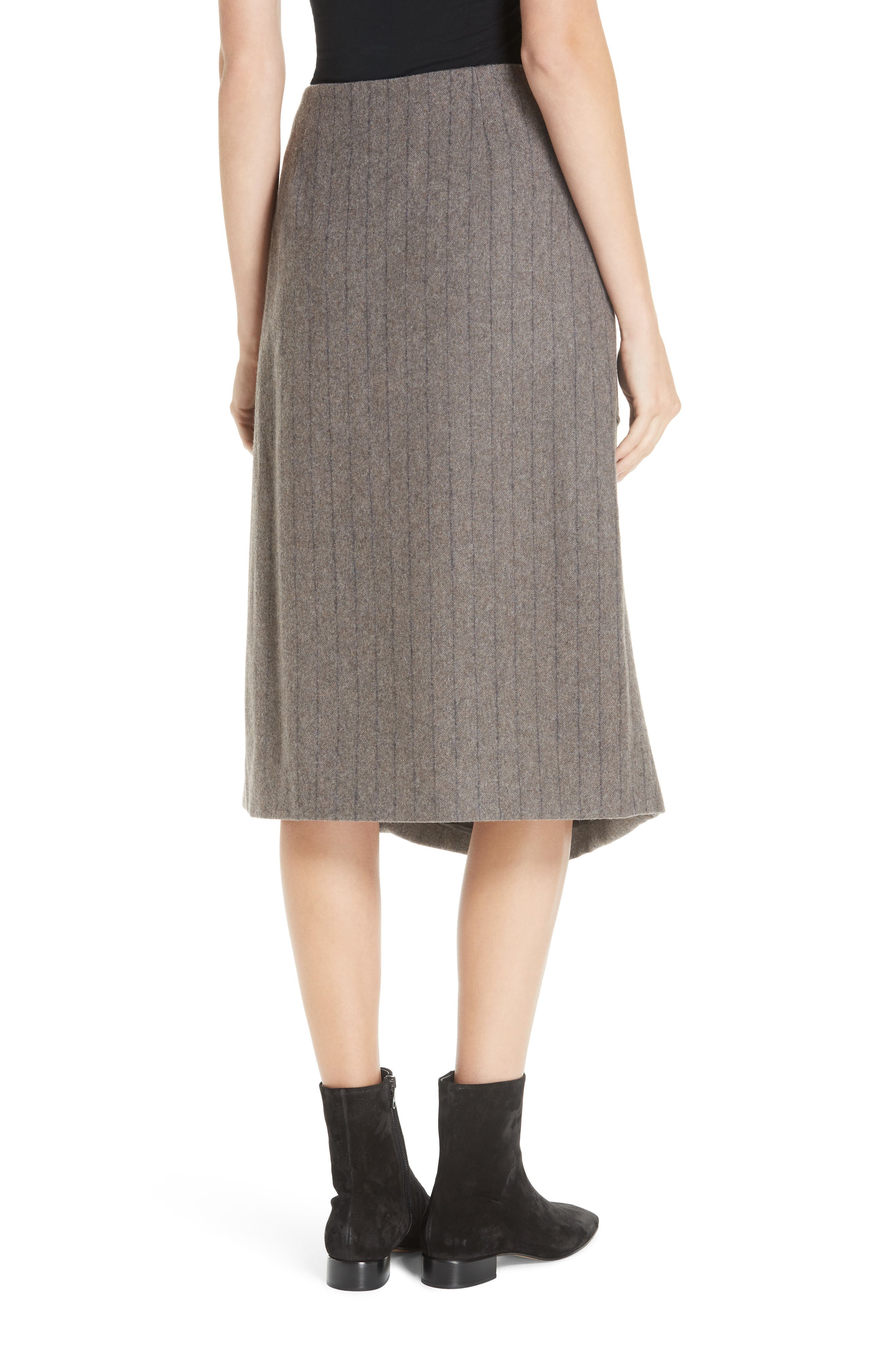 Noemie Pinstripe Wrap A-Line Skirt,                             Alternate thumbnail 2, color,                             STONE