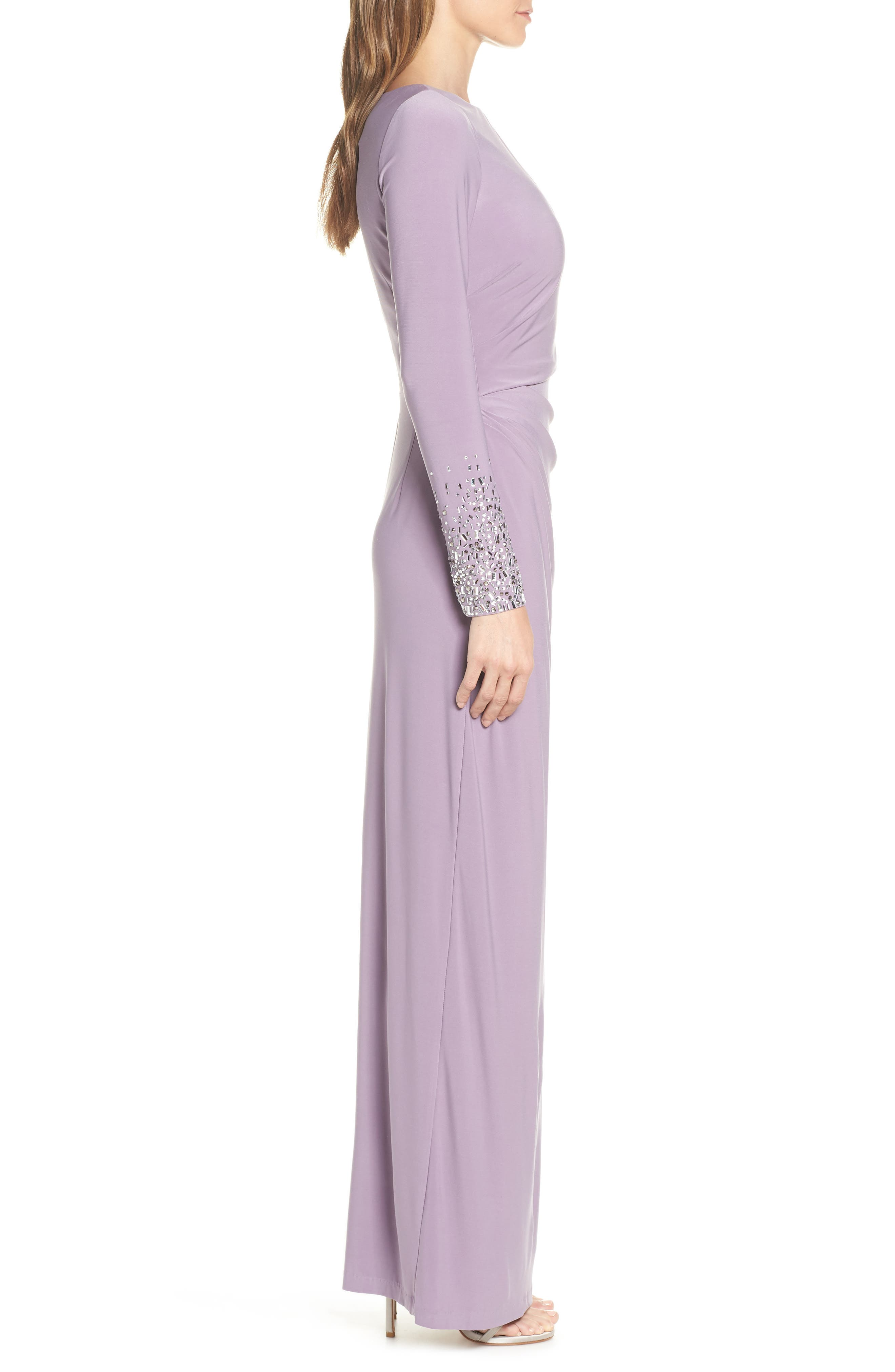 VINCE CAMUTO,                             Embellished Sleeve Ruched Evening Dress,                             Alternate thumbnail 3, color,                             LILAC