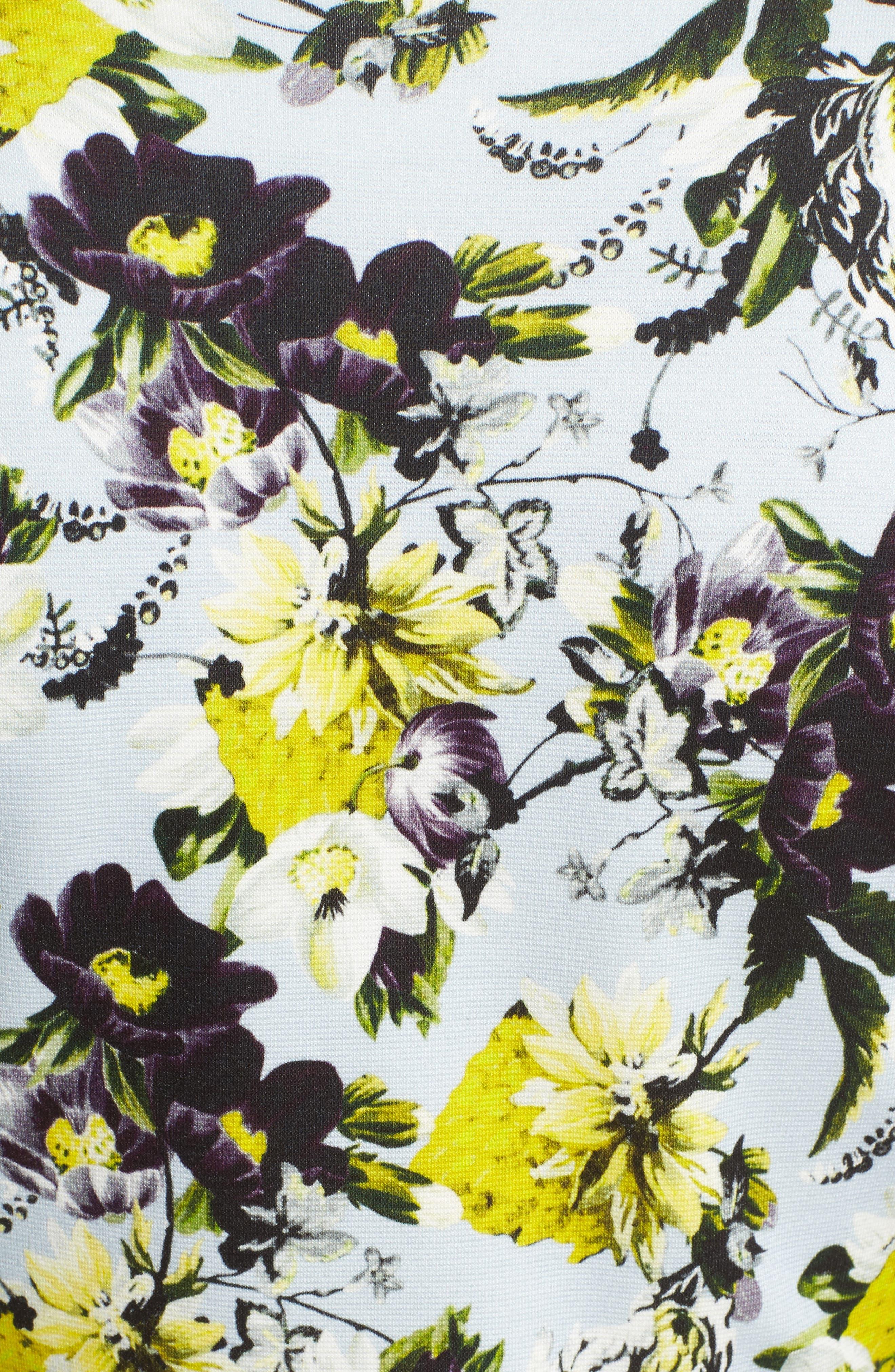 Floral Jersey Sheath Dress,                             Alternate thumbnail 5, color,                             700