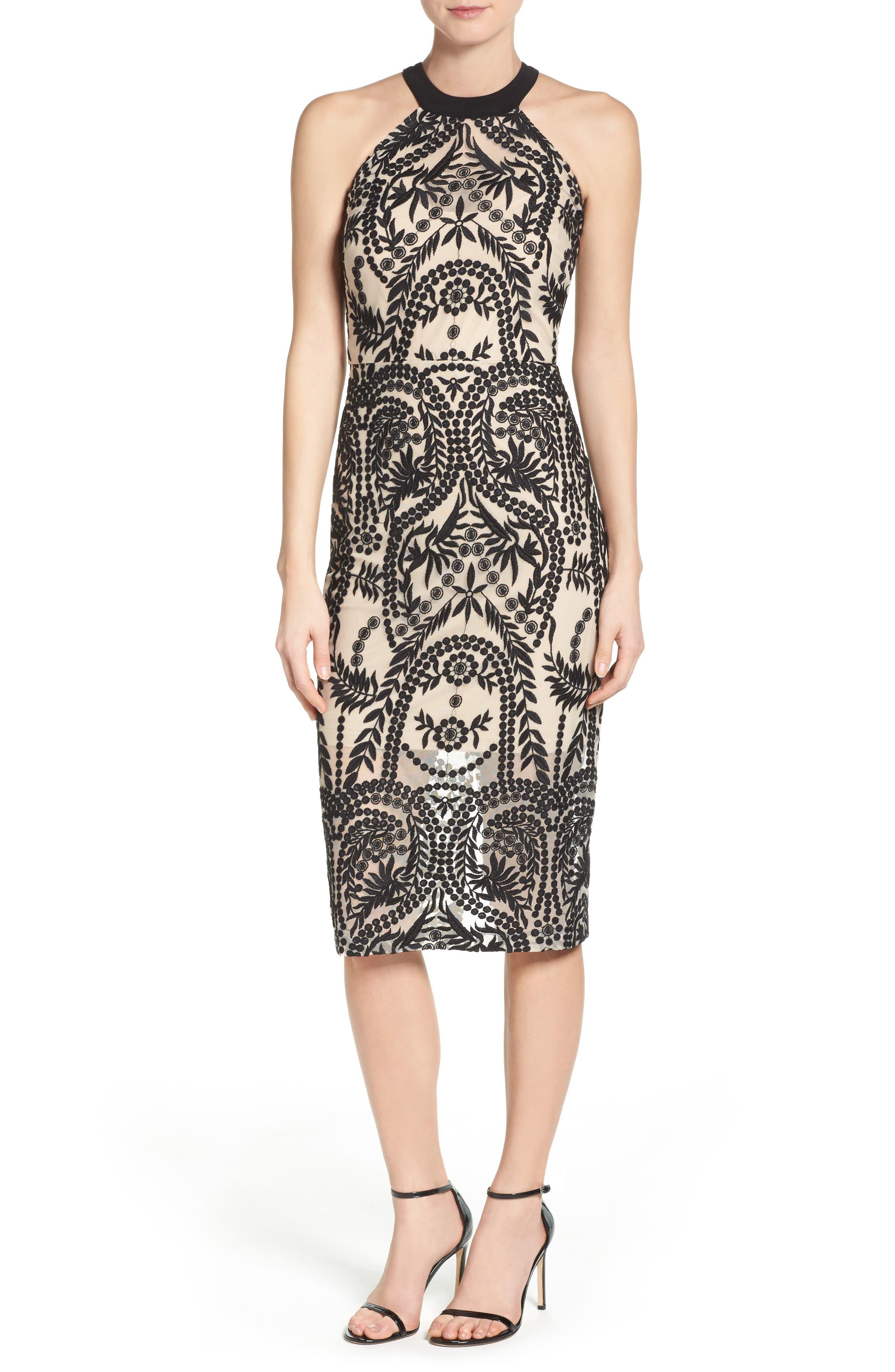 Mesh Halter Midi Dress,                         Main,                         color, 019