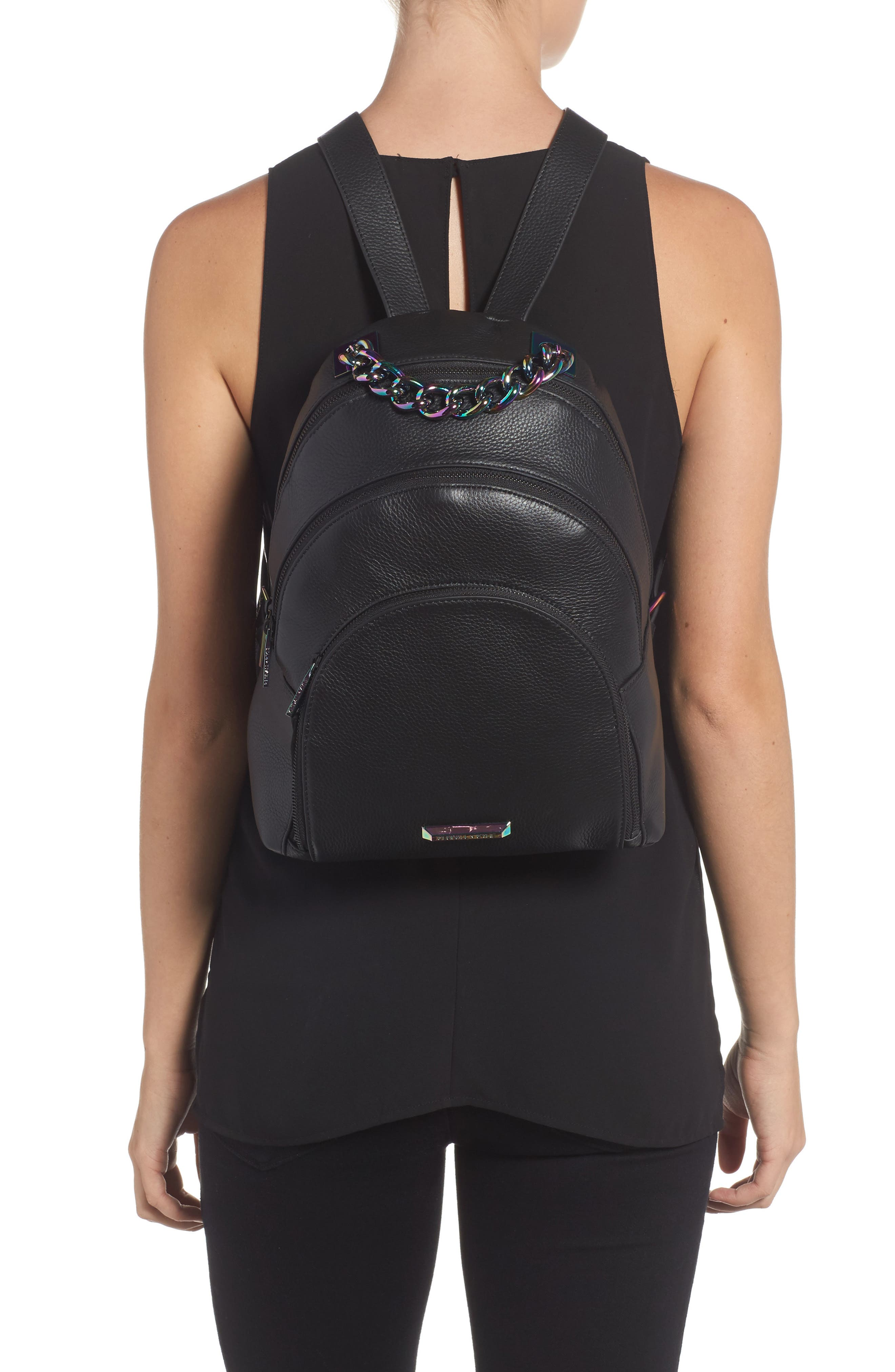 Sloane Iridescent Hardware Leather Backpack,                             Alternate thumbnail 2, color,