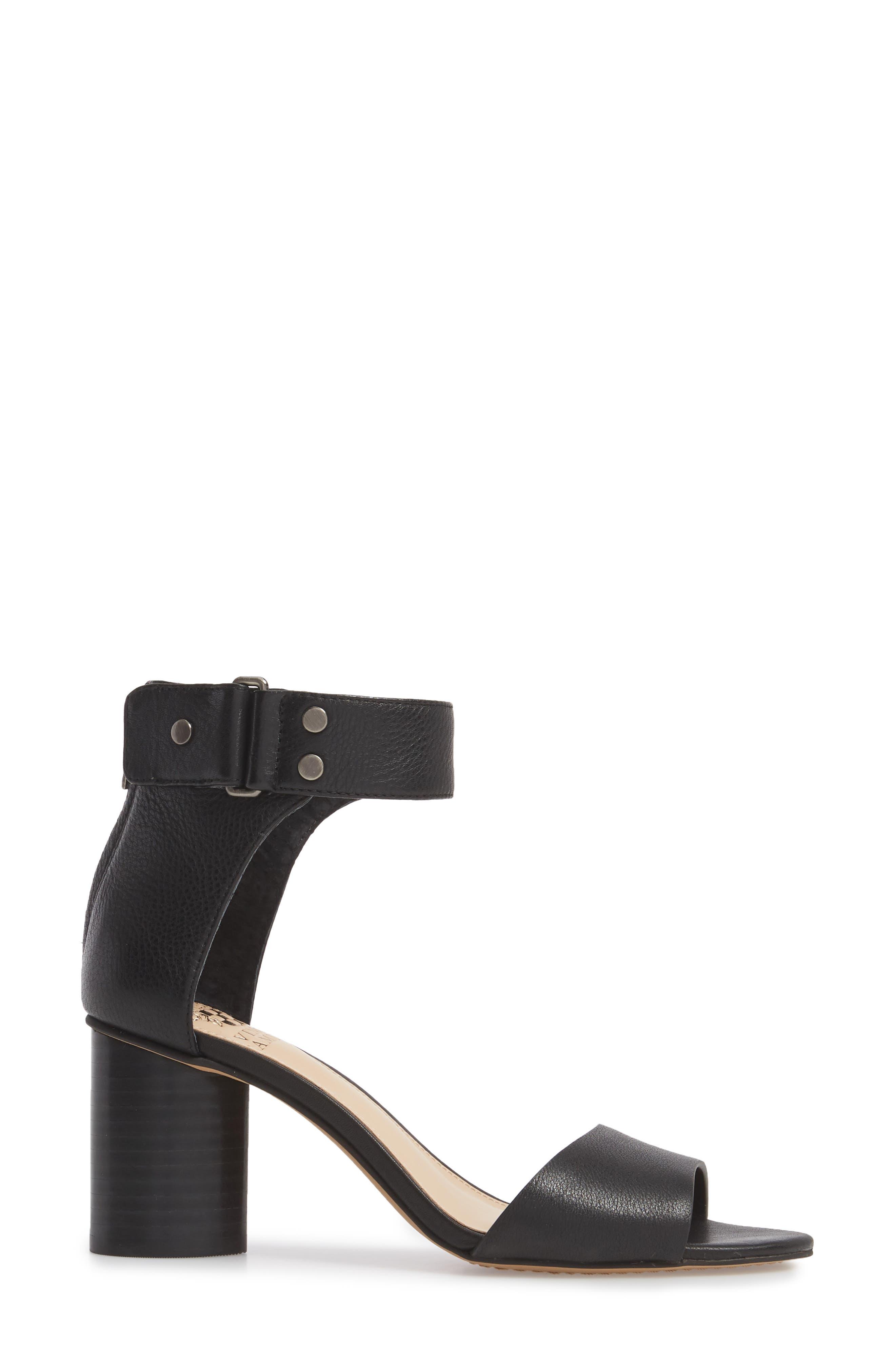 Jannali Ankle Strap Sandal,                             Alternate thumbnail 3, color,                             BLACK LEATHER