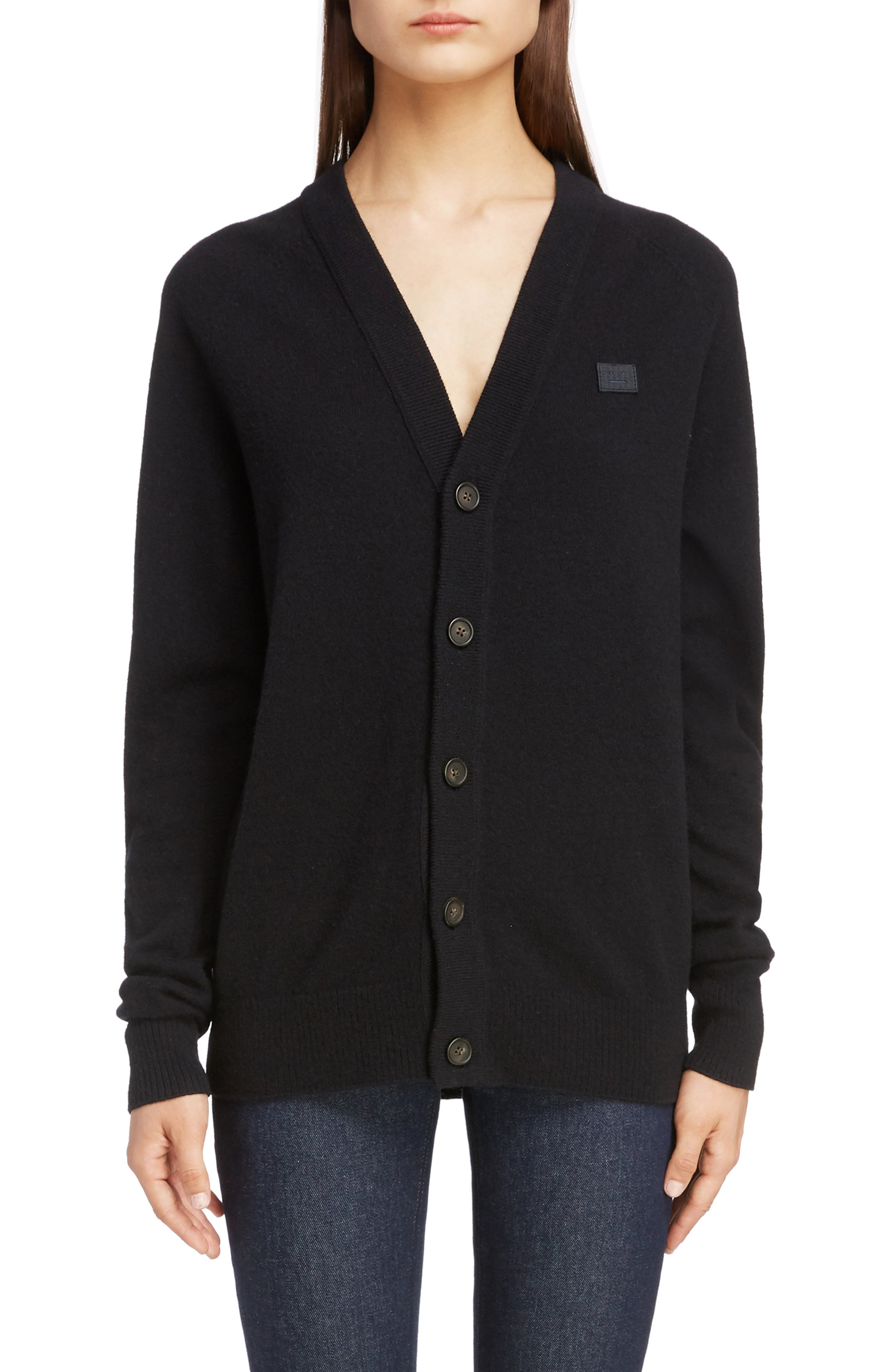 Neve Wool Cardigan, Main, color, BLACK