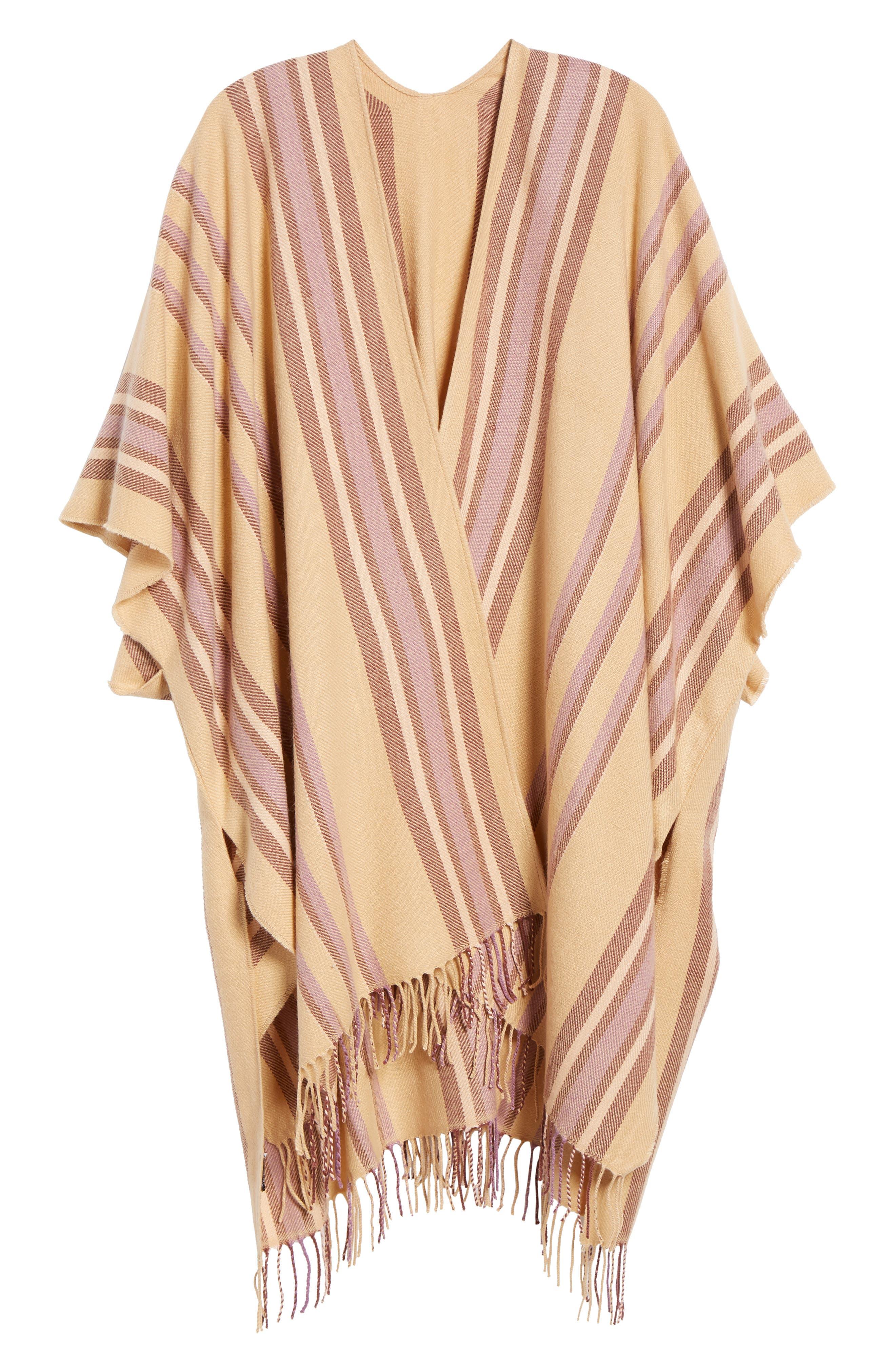 Placed Stripe Poncho Scarf,                             Alternate thumbnail 6, color,                             DESERT CAMEL MULTI
