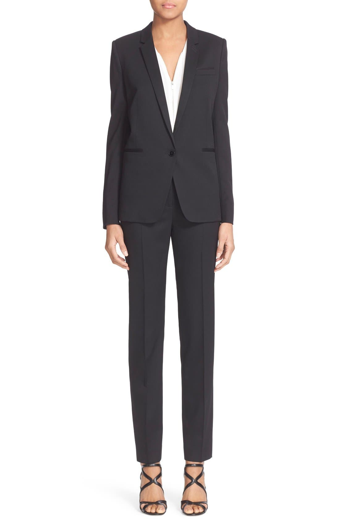 'Timeless' Stretch Wool Trousers,                             Alternate thumbnail 3, color,                             001