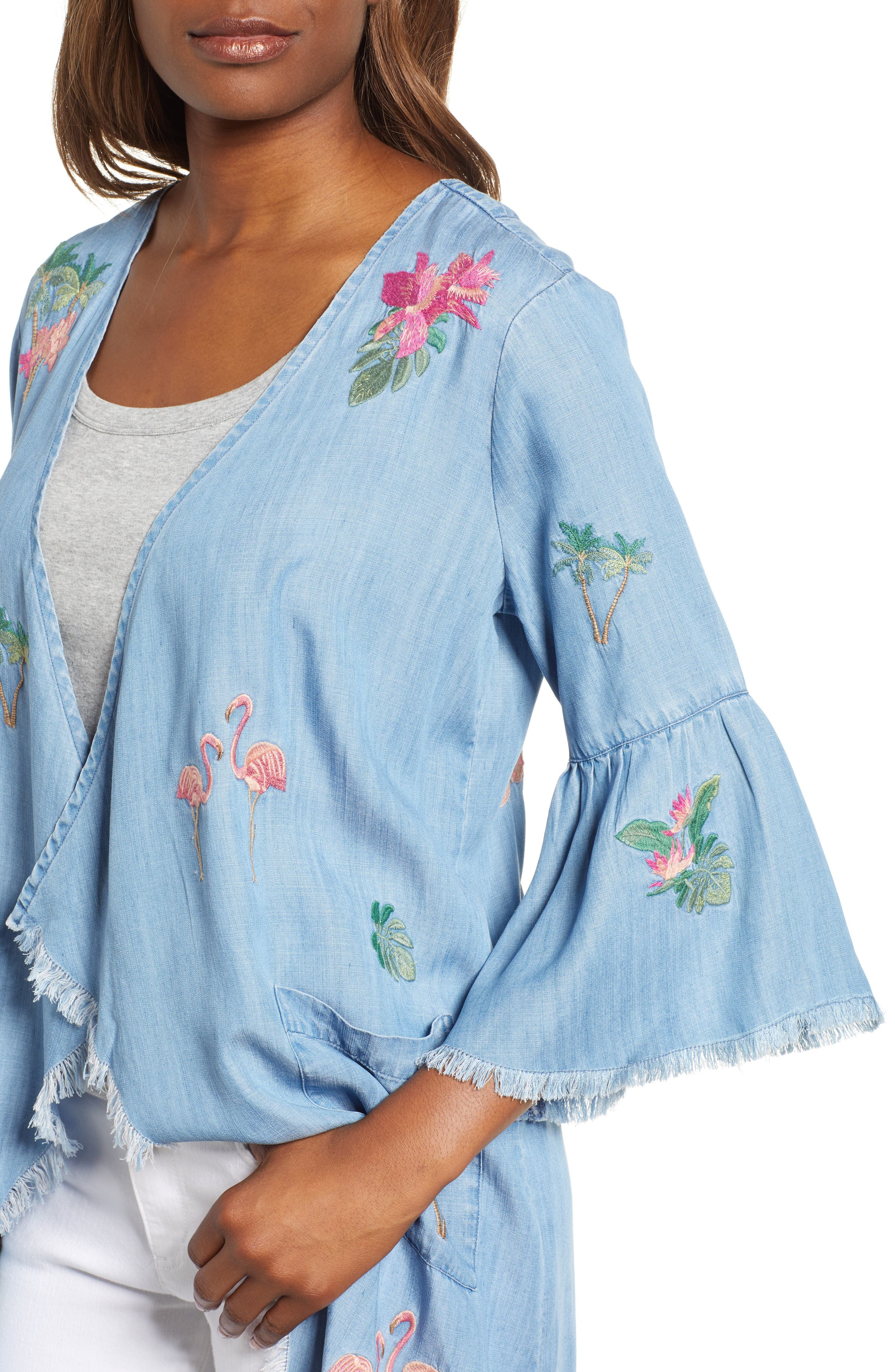 Flamingo Embroidered Chambray Kimono,                             Alternate thumbnail 4, color,                             421