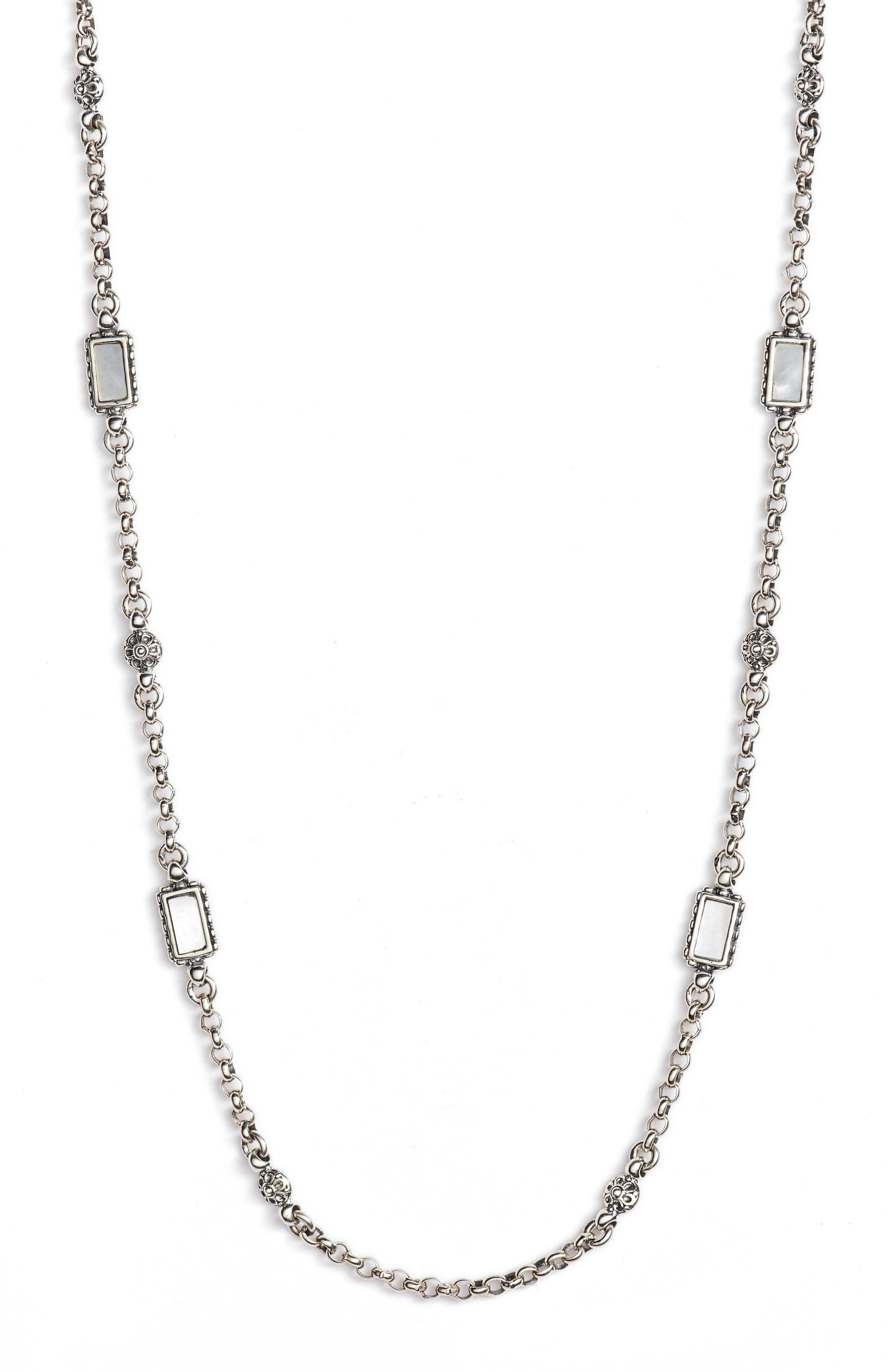 Mother of Pearl Sterling Necklace,                         Main,                         color, SILVER/ GOLD/ WHITE