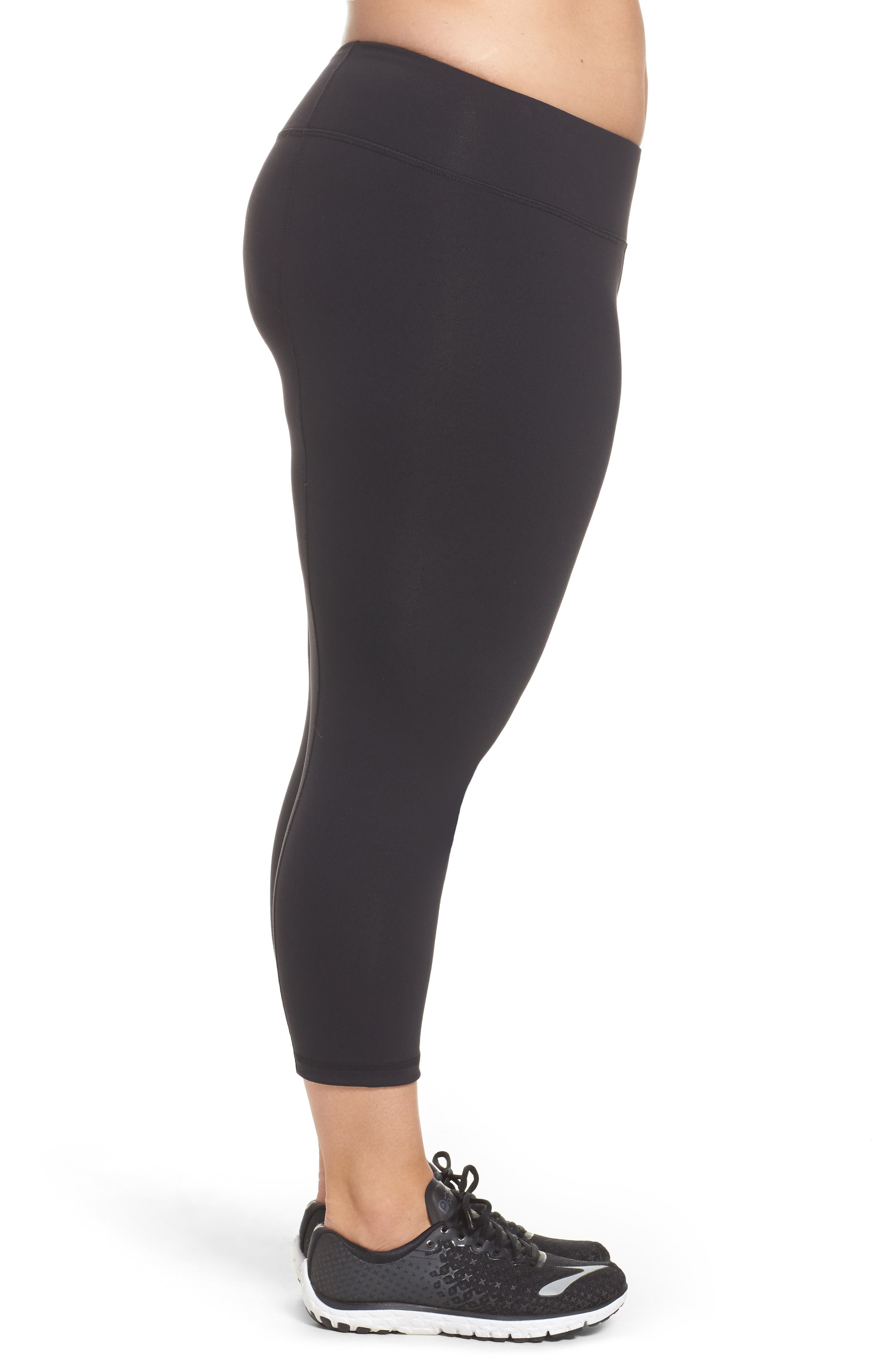 Crop Leggings,                             Alternate thumbnail 3, color,                             BLACK