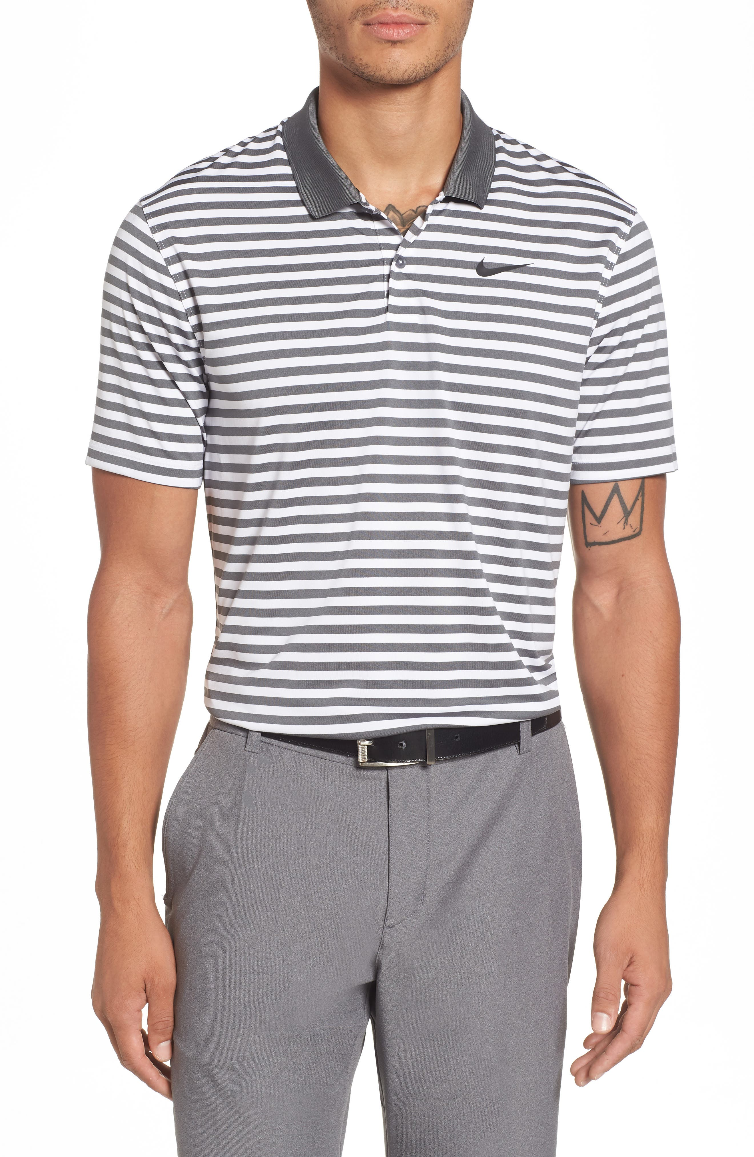 NIKE Dry Victory Stripe Polo, Main, color, 021