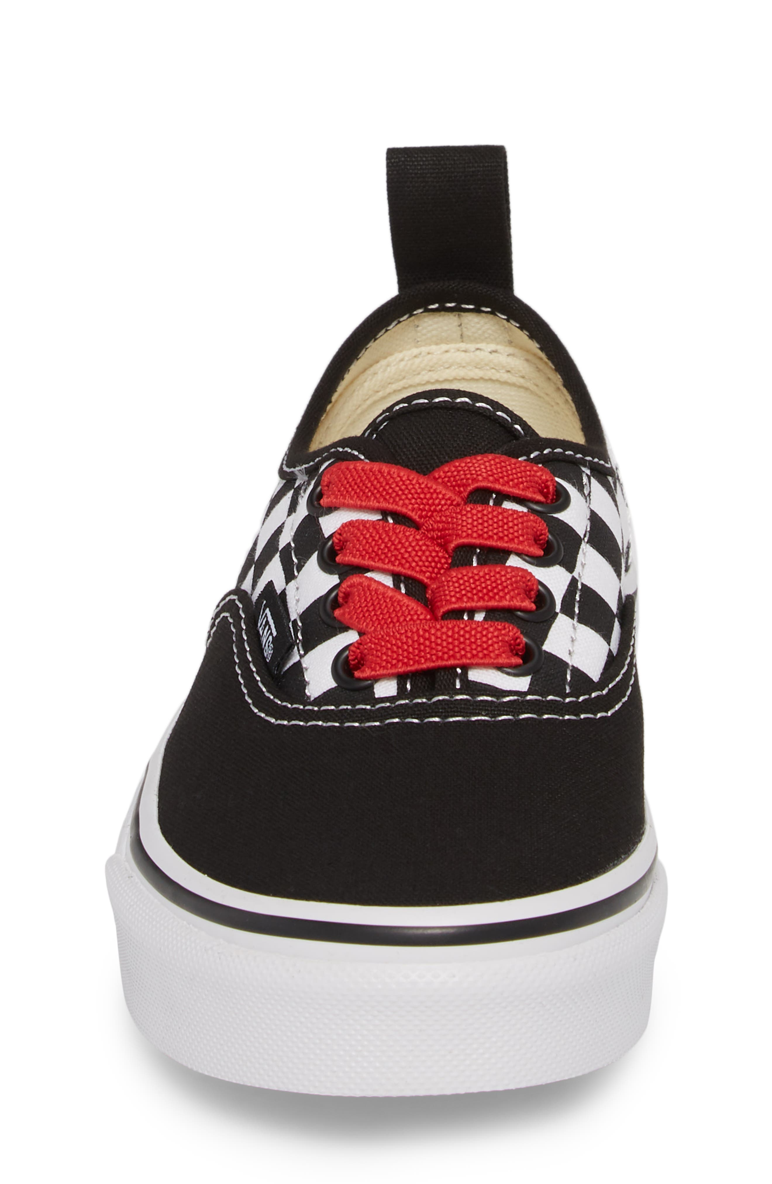 Authentic Elastic Lace Sneaker,                             Alternate thumbnail 4, color,                             CHECKERBOARD BLACK/ RED/ WHITE