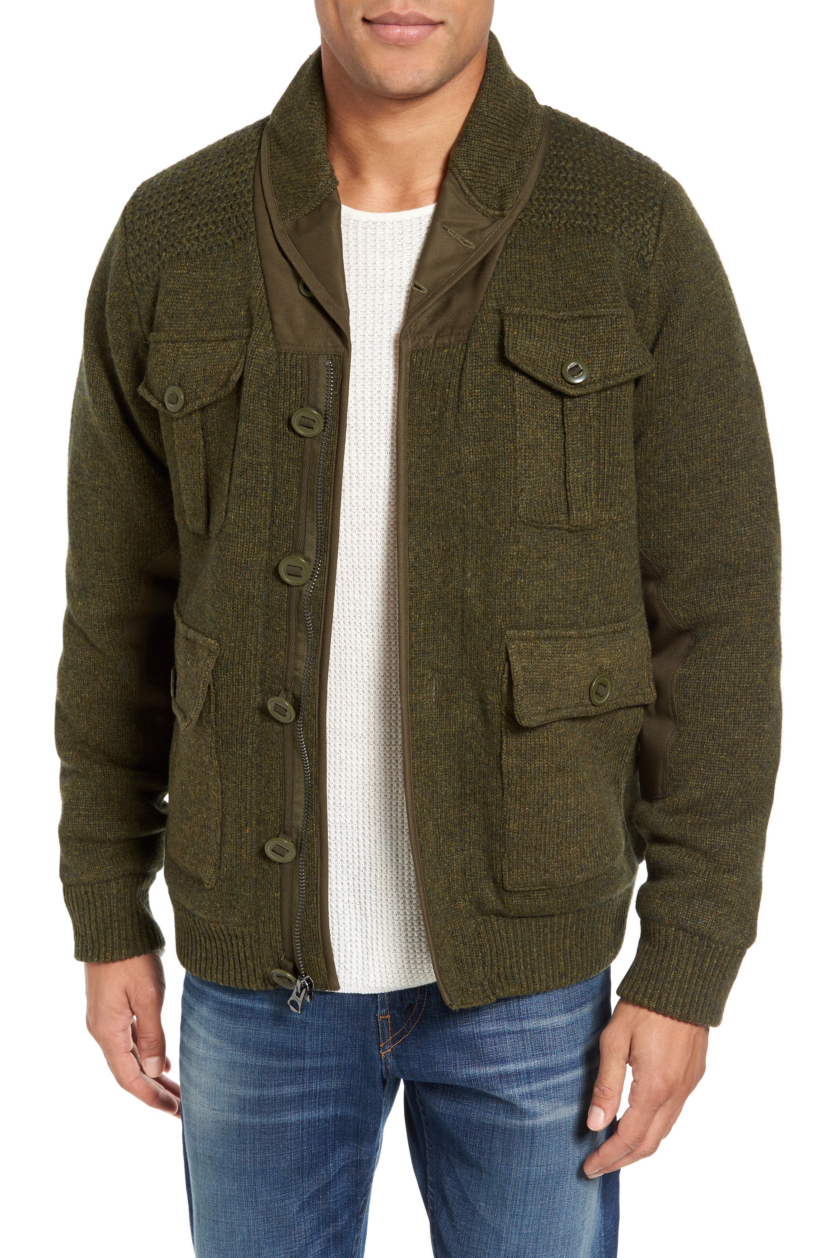 Military Sherpa-Lined Sweater Jacket,                             Alternate thumbnail 4, color,