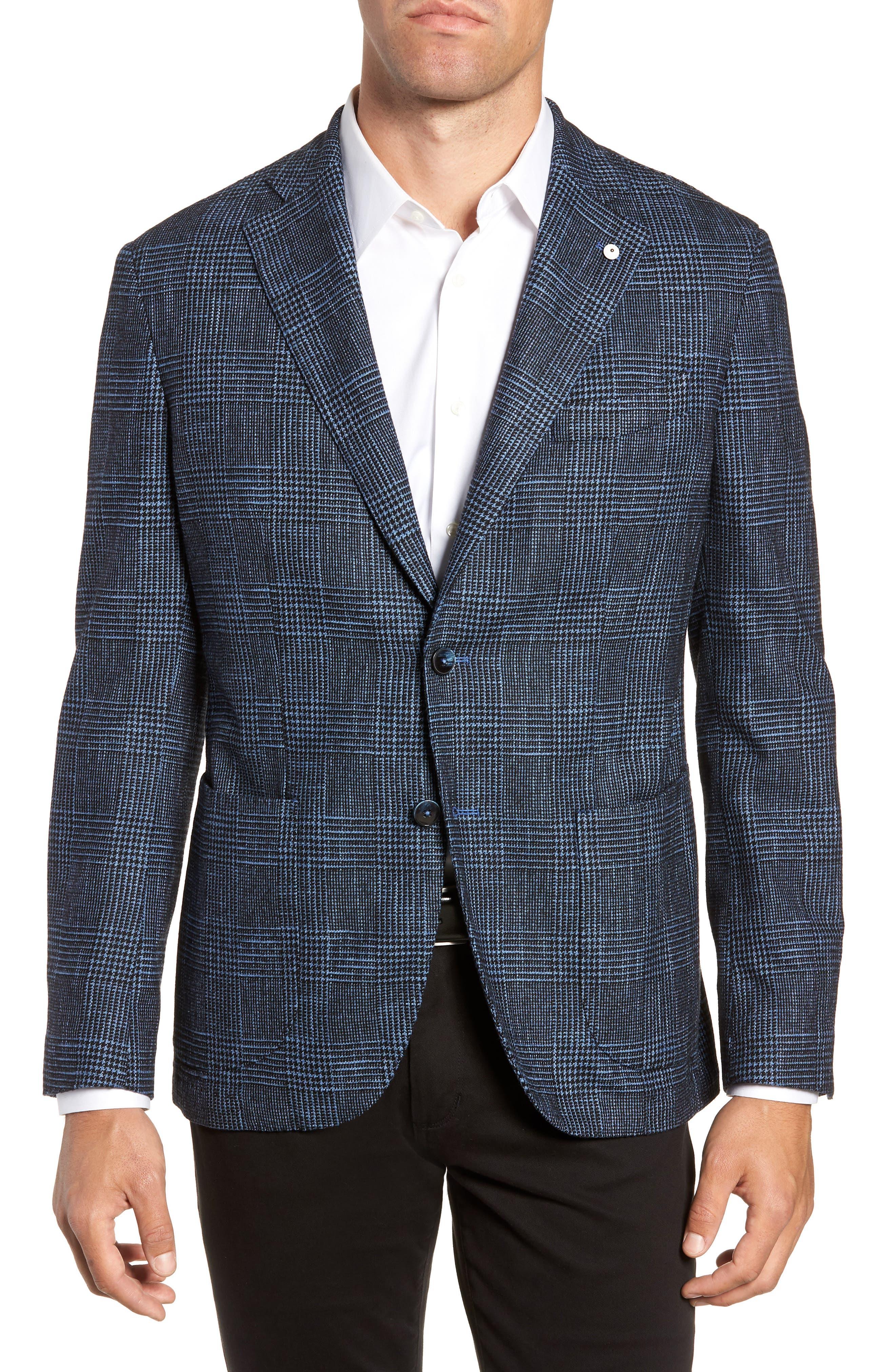 L.B.M. L.B.M 1911 Classic Fit Plaid Cotton Blend Sport Coat in Blue