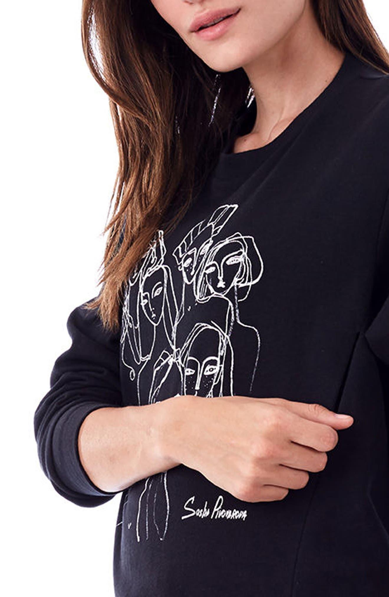 Sasha Maternity/Nursing Sweatshirt,                             Alternate thumbnail 4, color,                             BLACK