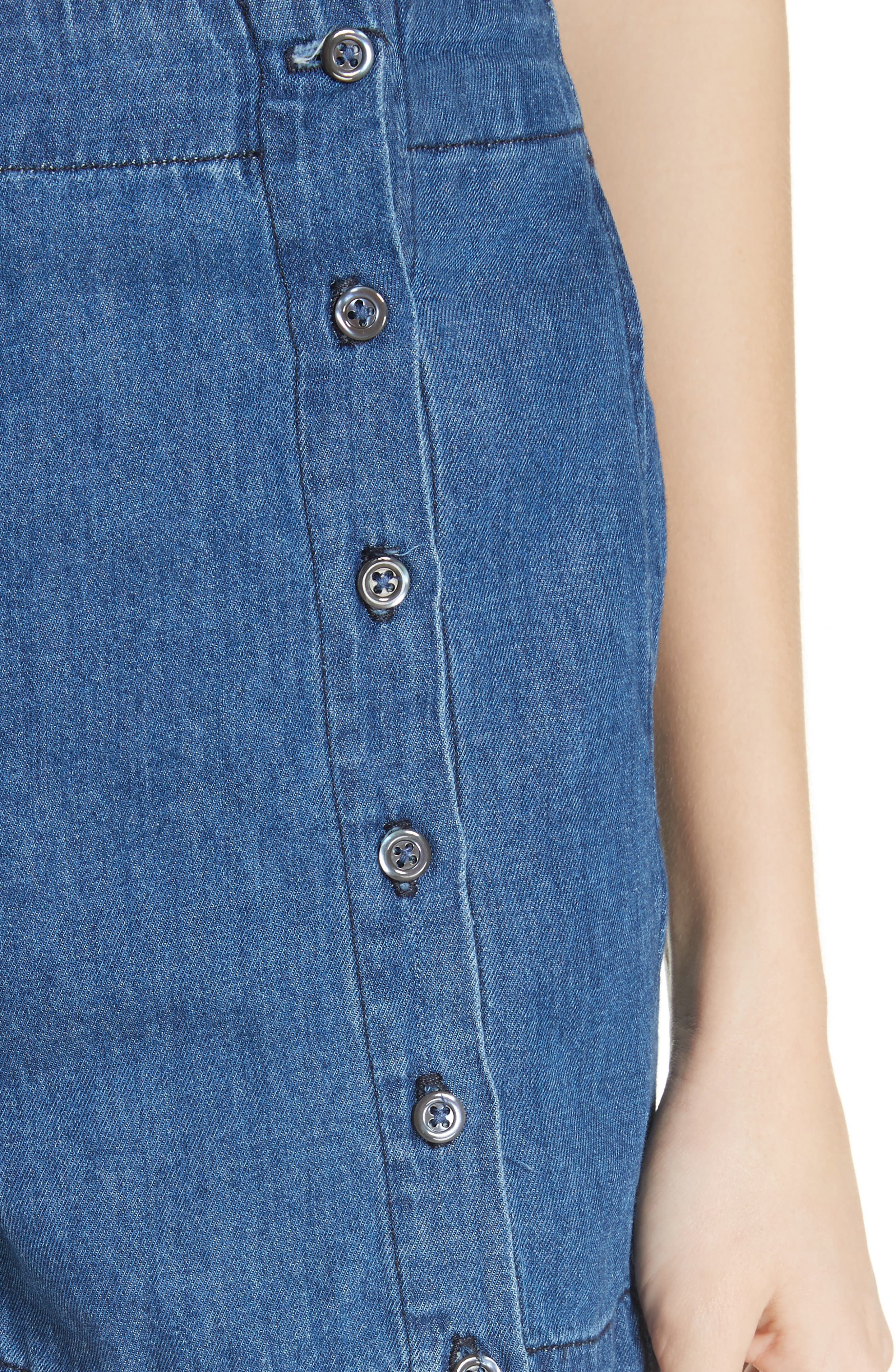 Amy Button Front Denim Shorts,                             Alternate thumbnail 4, color,                             ABELLA SHORT
