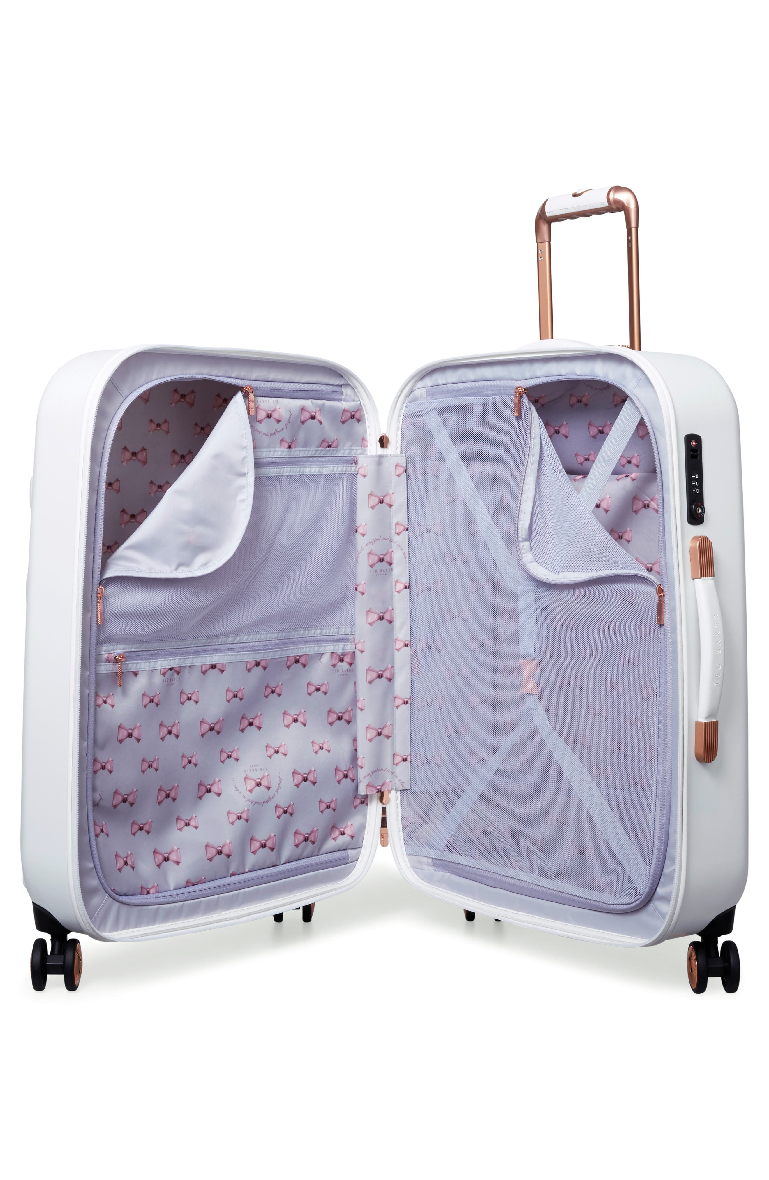 Medium Beau Bow Embossed Four-Wheel 27-Inch Trolley Suitcase,                             Alternate thumbnail 2, color,                             WHITE
