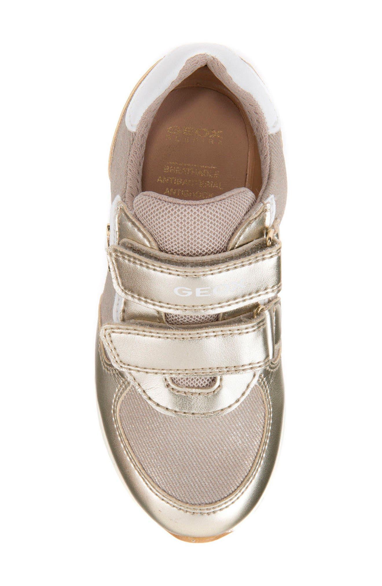 Jensea Metallic Accent Sneaker,                             Alternate thumbnail 4, color,                             BEIGE/ LIGHT GOLD