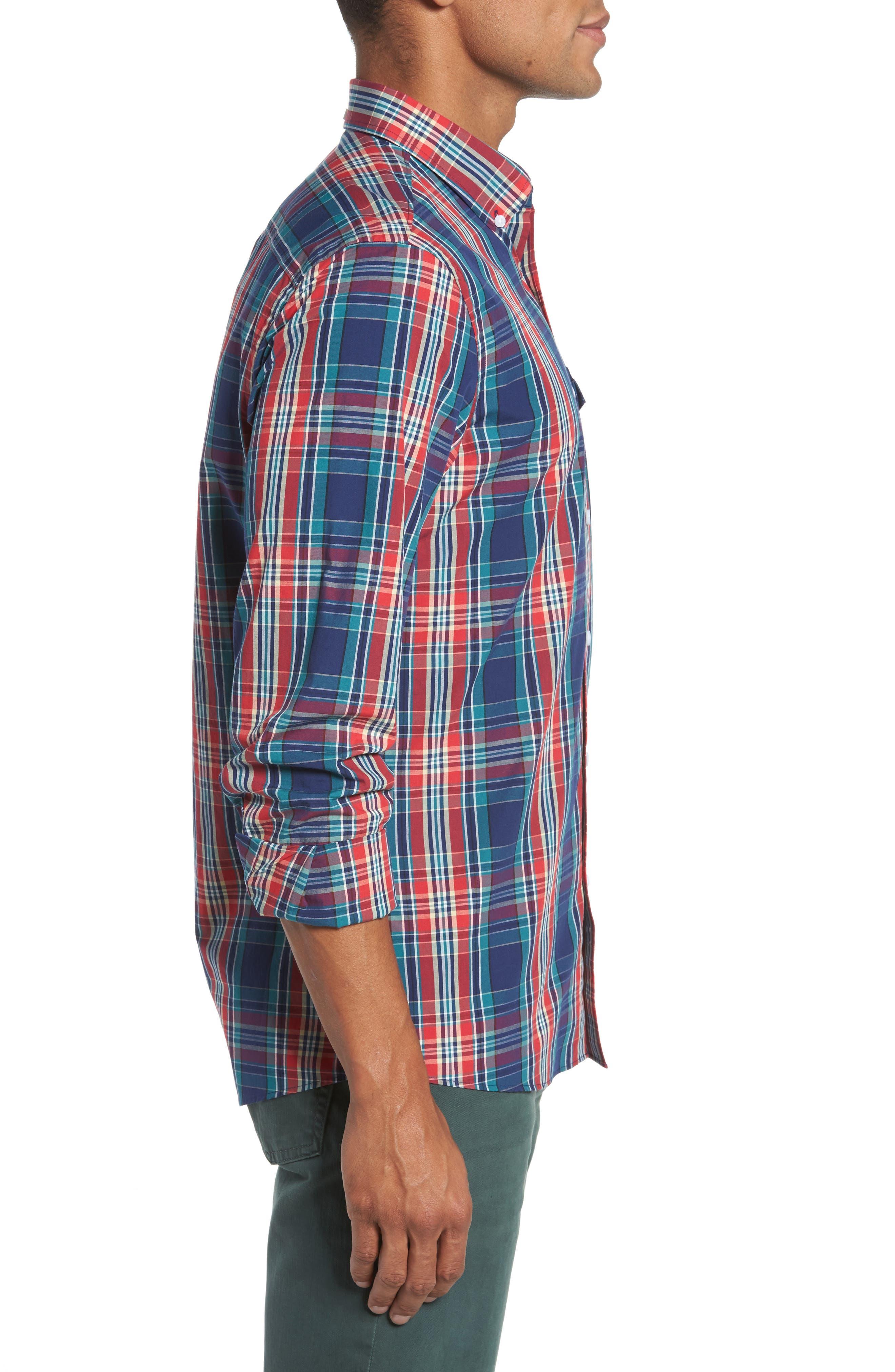 Ivy Trim Fit Plaid Sport Shirt,                             Alternate thumbnail 3, color,                             610