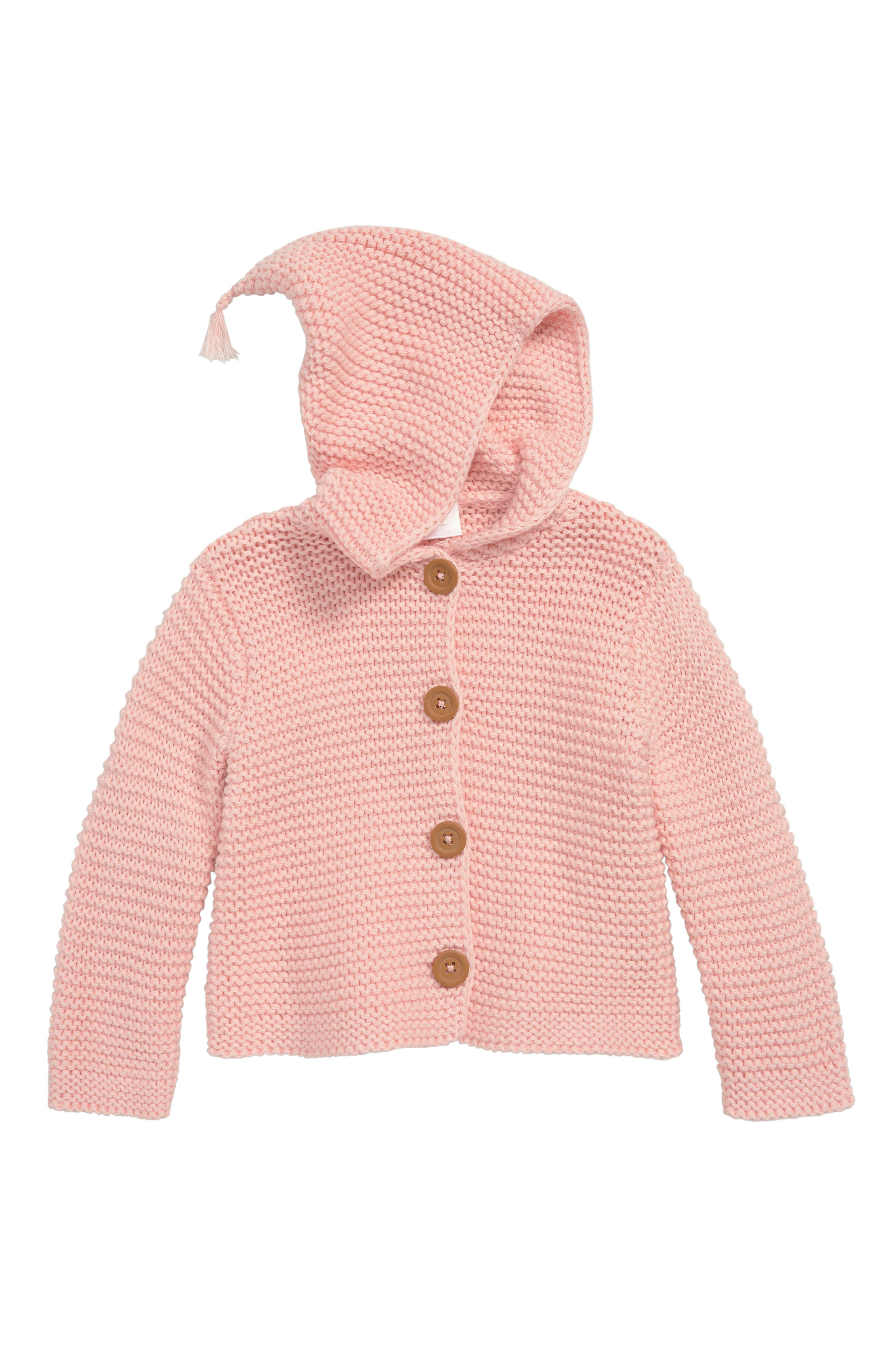 NORDSTROM BABY Lofty Organic Cotton Hooded Cardigan, Main, color, PINK SEASHELL
