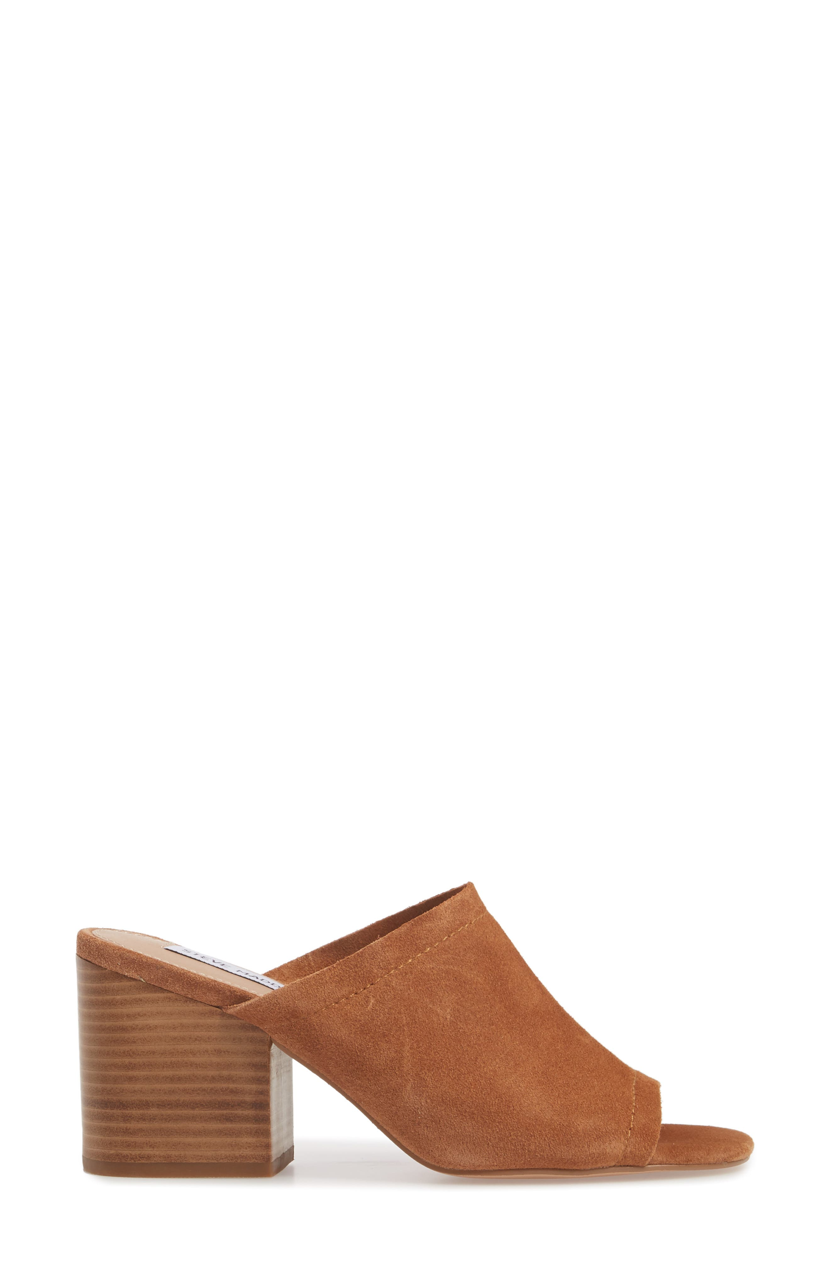 Doran Mule Sandal,                             Alternate thumbnail 3, color,                             CHESTNUT SUEDE