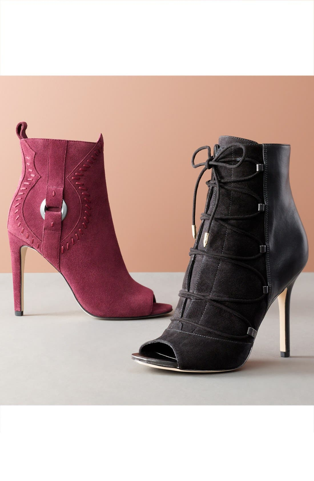 'Asher' Open Toe Bootie,                             Alternate thumbnail 6, color,                             001