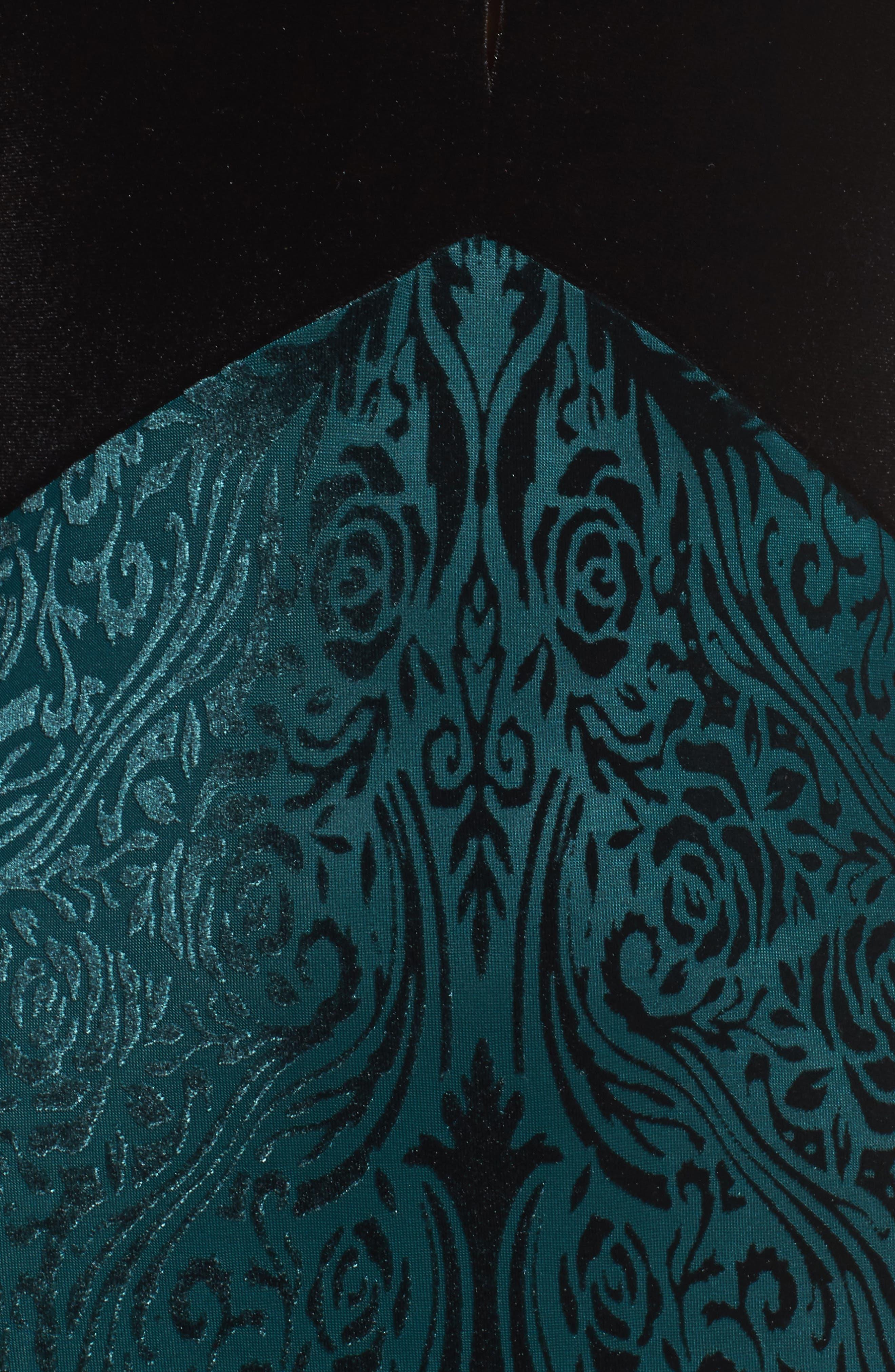 V-Neck Velvet & Illusion Gown,                             Alternate thumbnail 5, color,