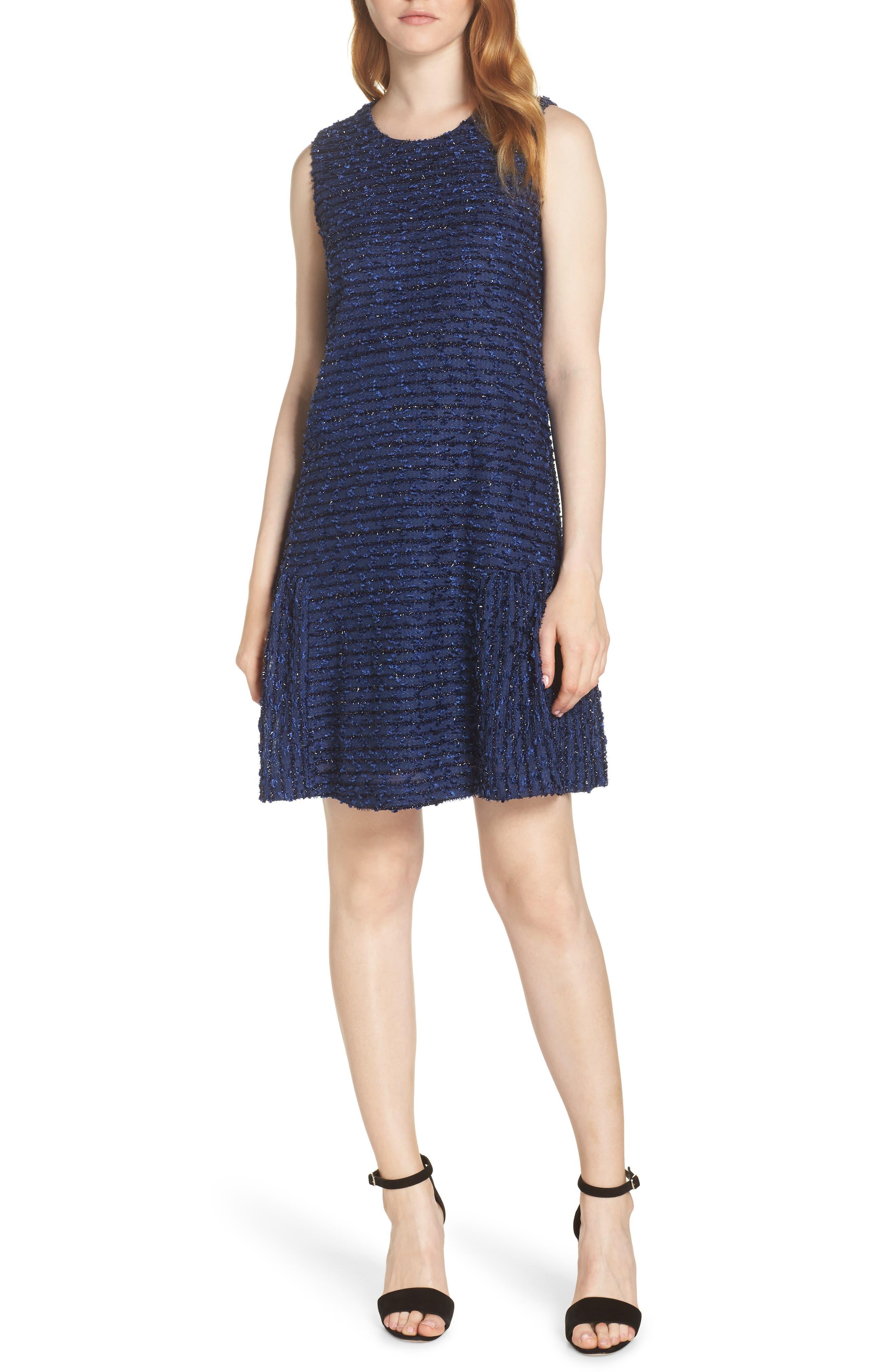 Chelsea28 Sleeveless Sparkle Ruffle Hem Shift Dress, Blue