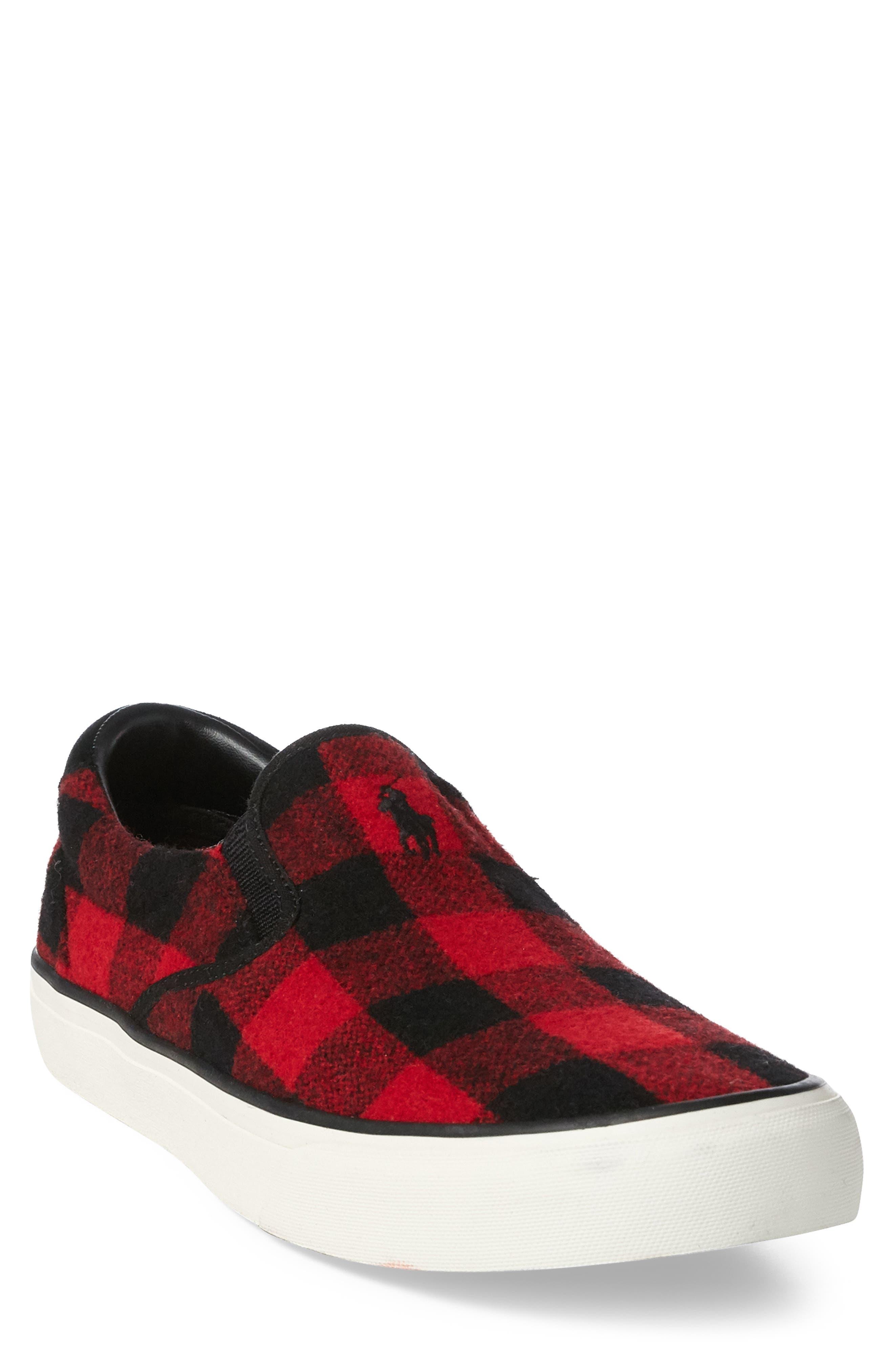 Thompson Wool Slip-On Sneaker,                             Main thumbnail 1, color,                             BLACK / RED