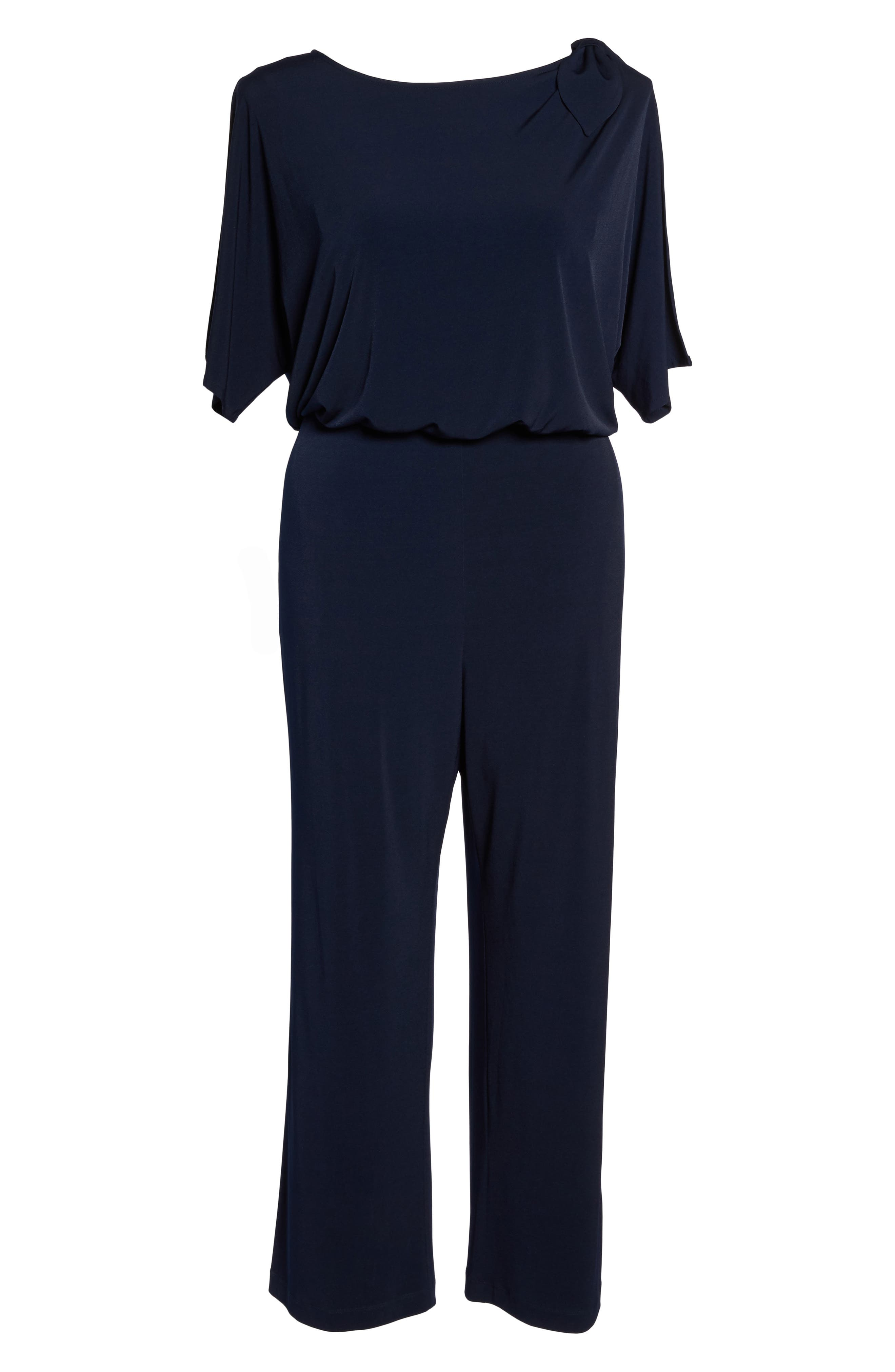 Crepe Split Sleeve Jumpsuit,                             Alternate thumbnail 6, color,