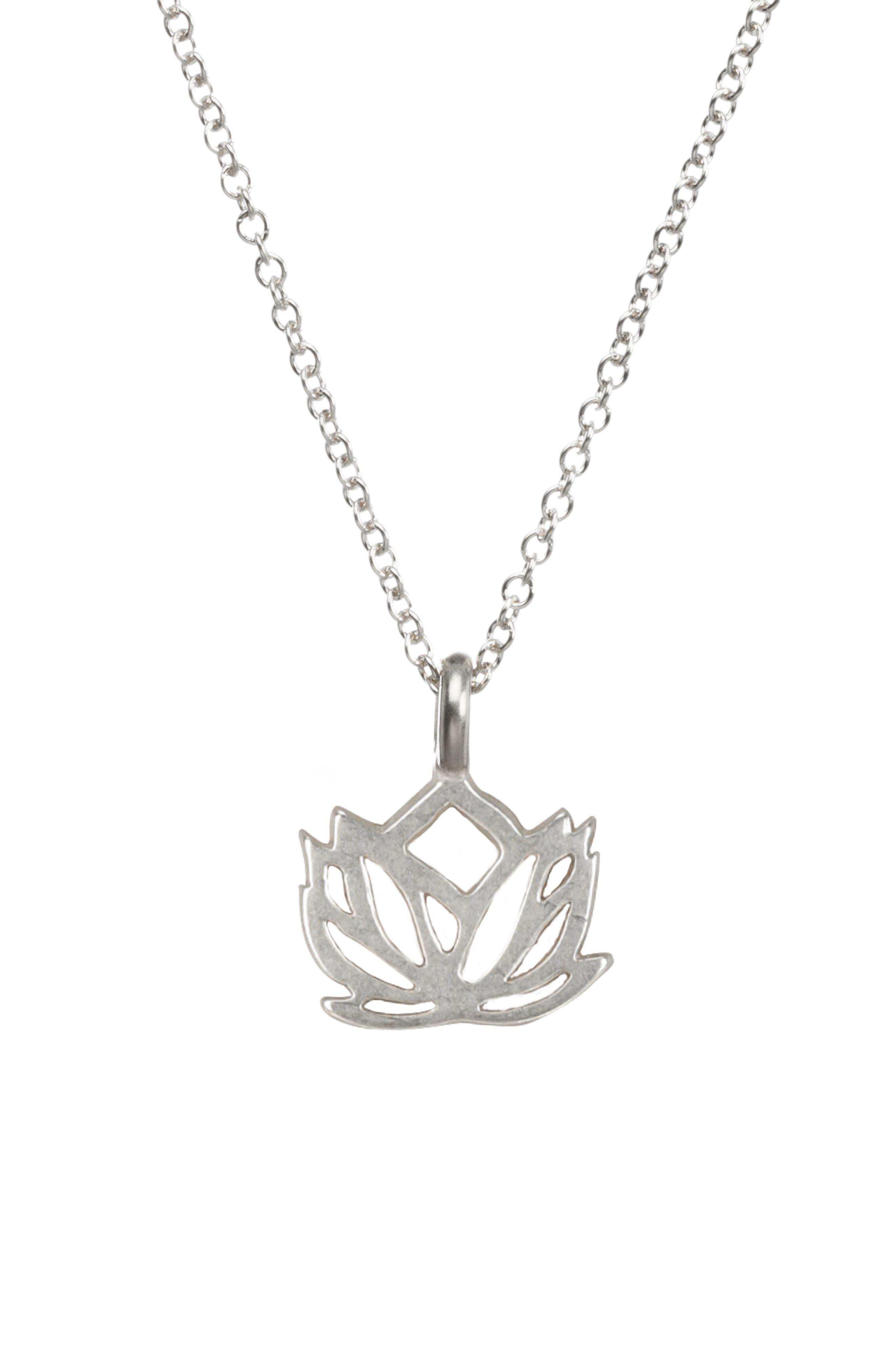 Lotus Reminder Pendant Necklace,                             Main thumbnail 1, color,                             042