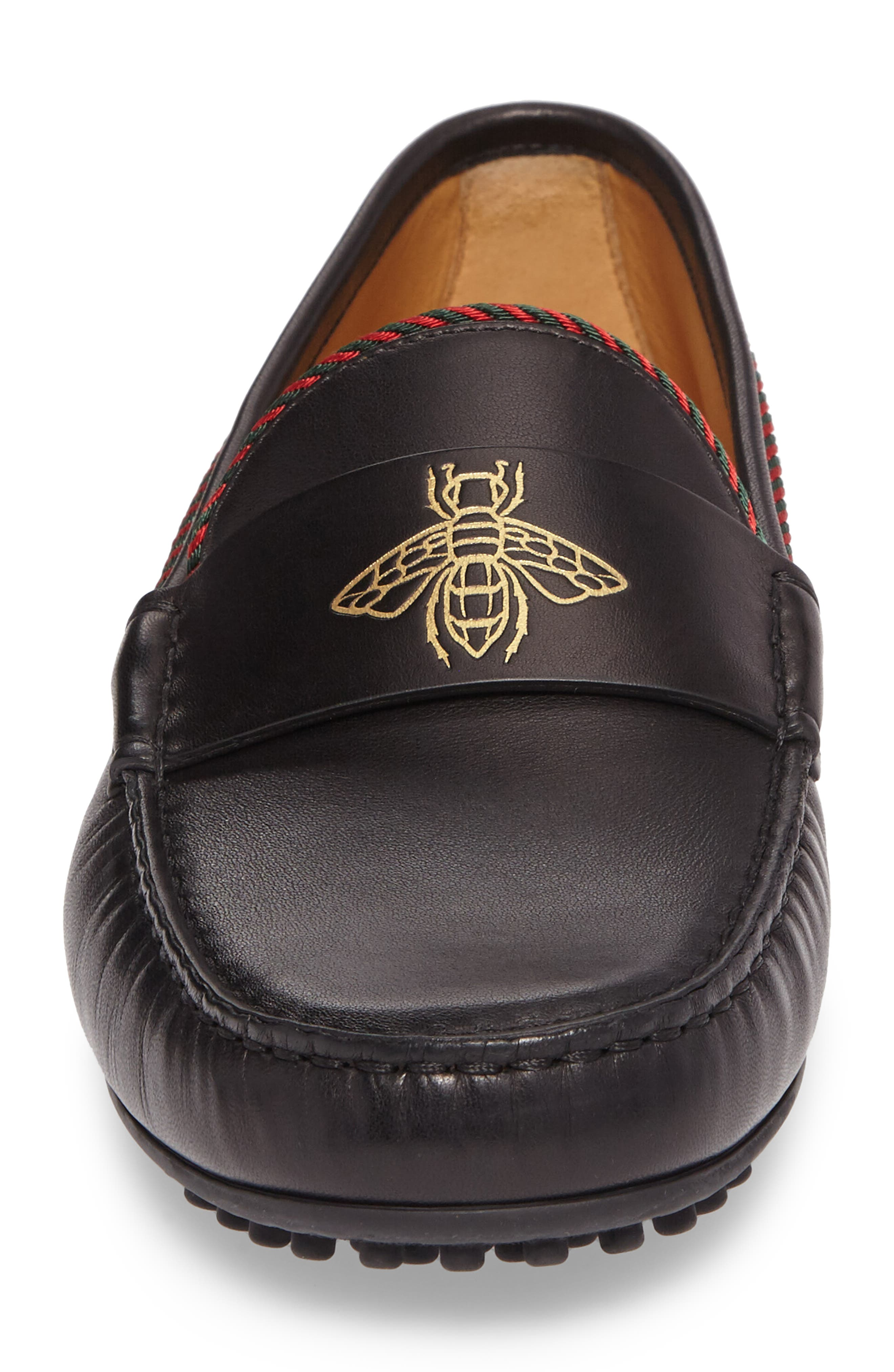 Bee Leather Driving Shoe,                             Alternate thumbnail 4, color,                             007