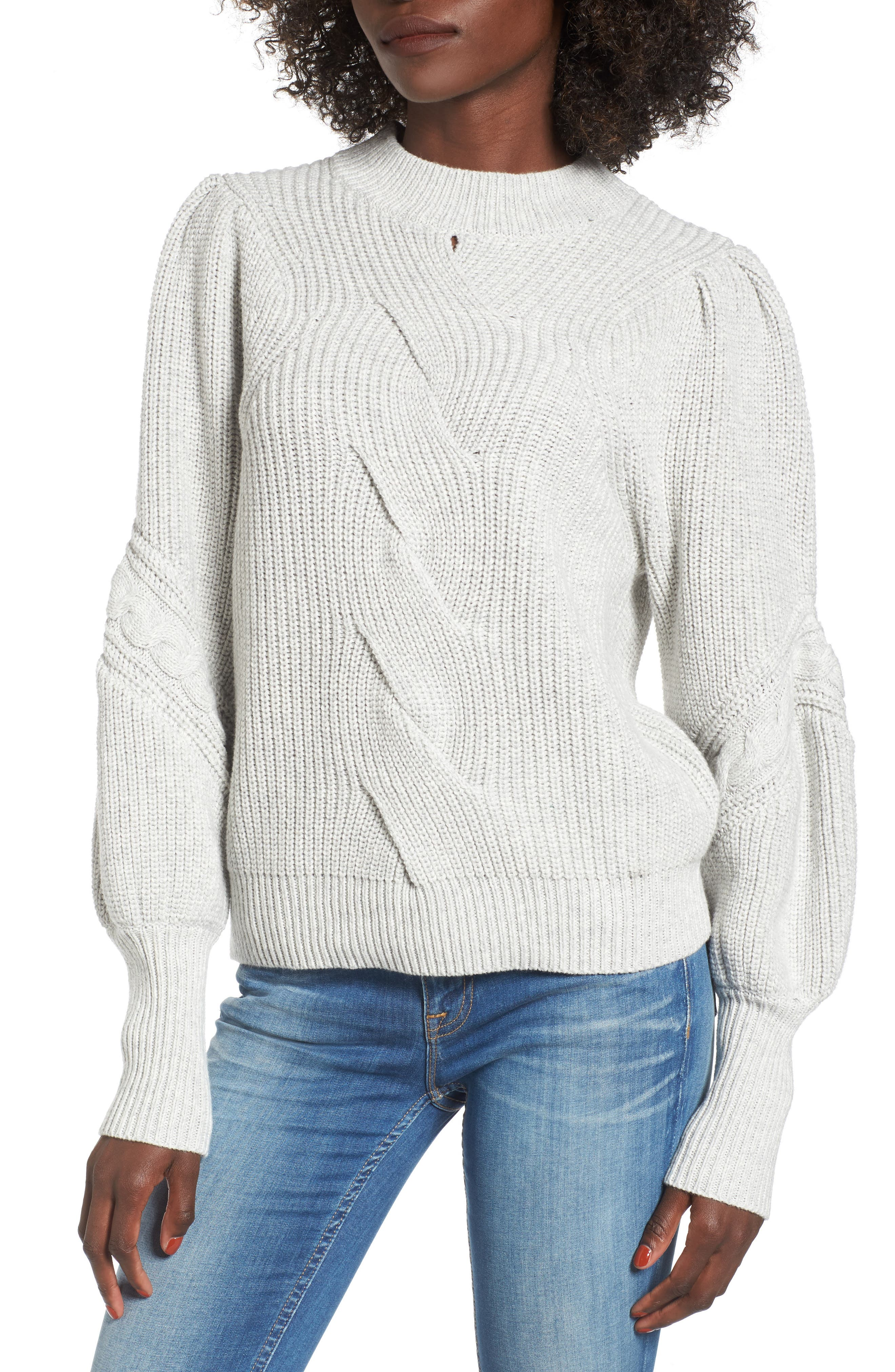 Cable Knit Puff Sleeve Sweater,                             Main thumbnail 1, color,                             050