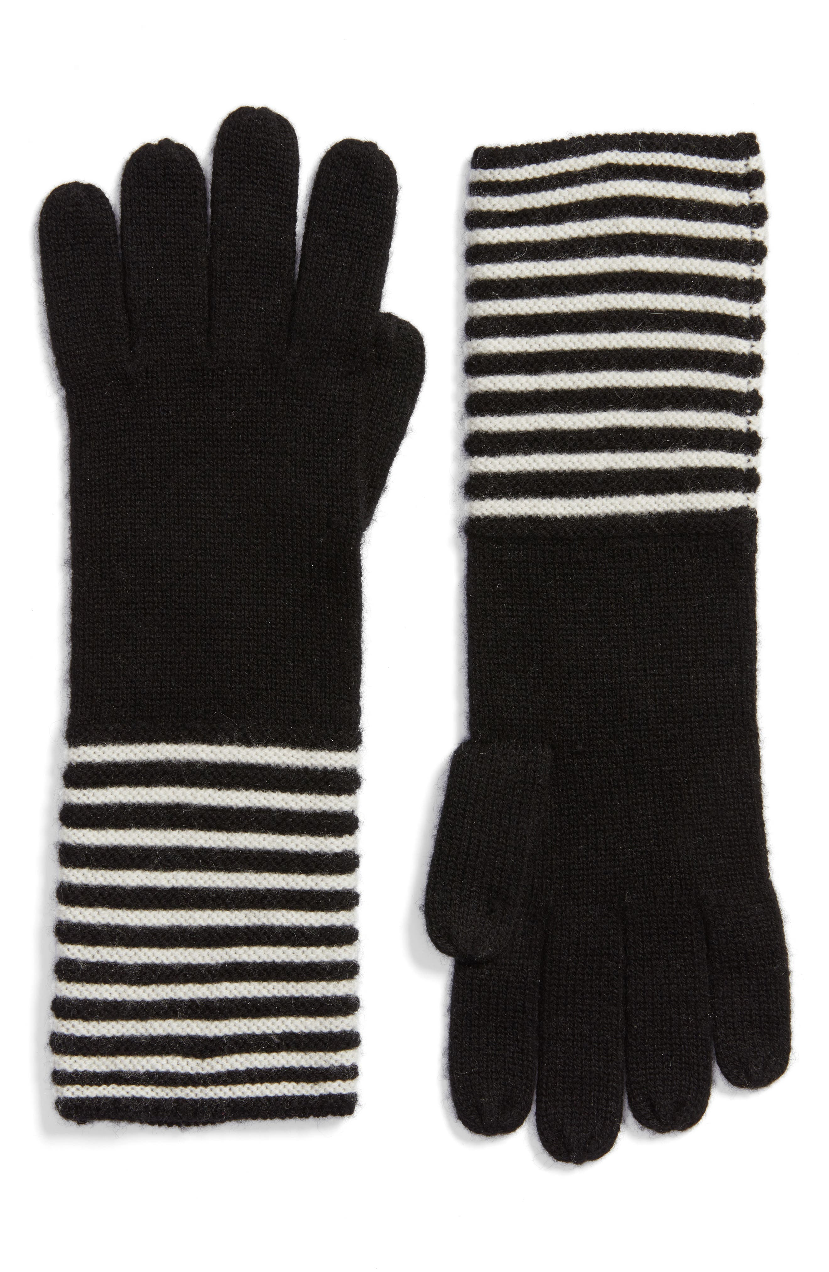 Double Links Wool & Cashmere Gloves,                             Main thumbnail 1, color,                             001