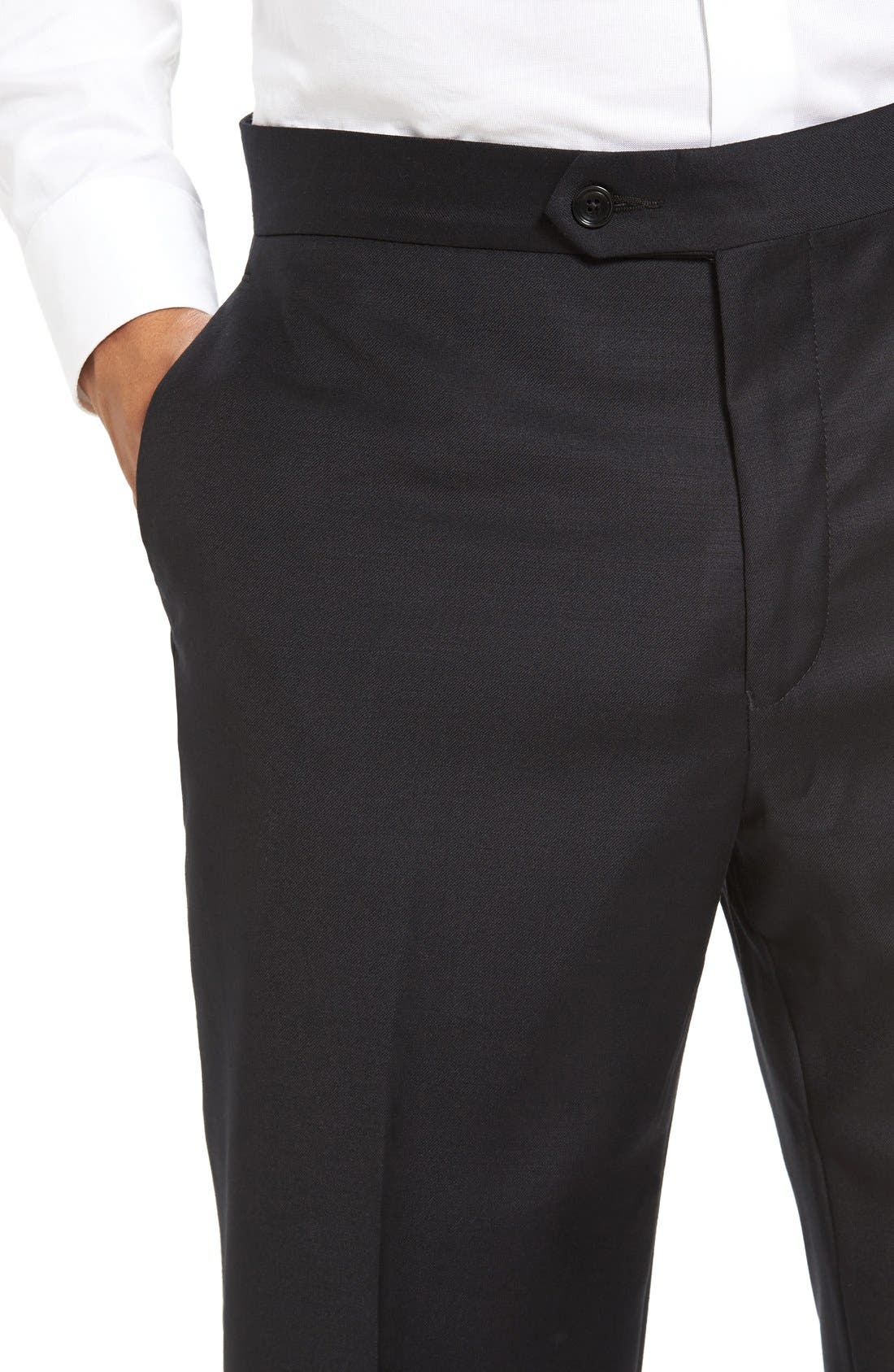 Dagger Flat Front Formal Wool Trousers,                             Alternate thumbnail 4, color,                             001