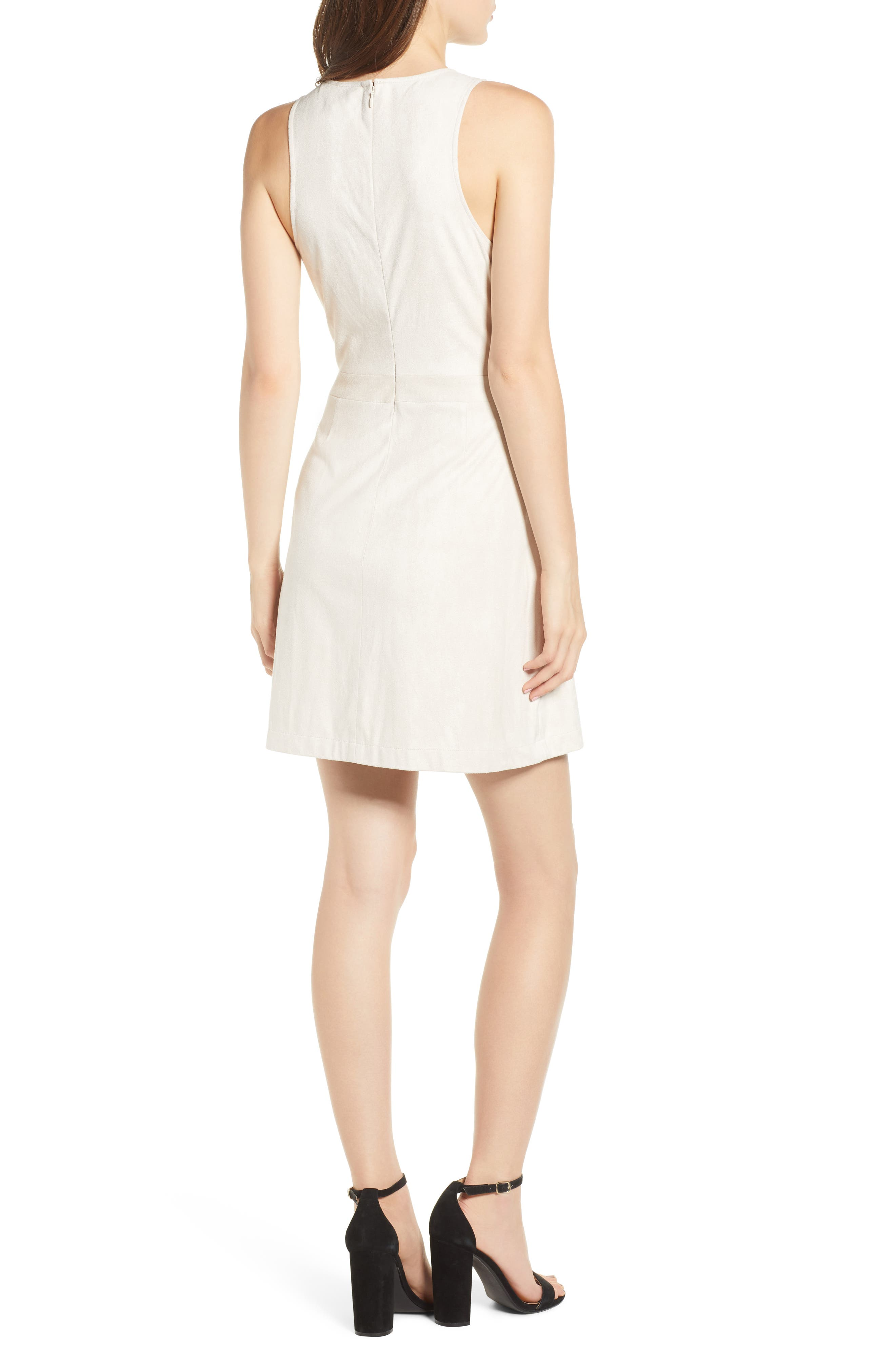 Daton Faux Suede Dress,                             Alternate thumbnail 2, color,                             SOFT BEIGE