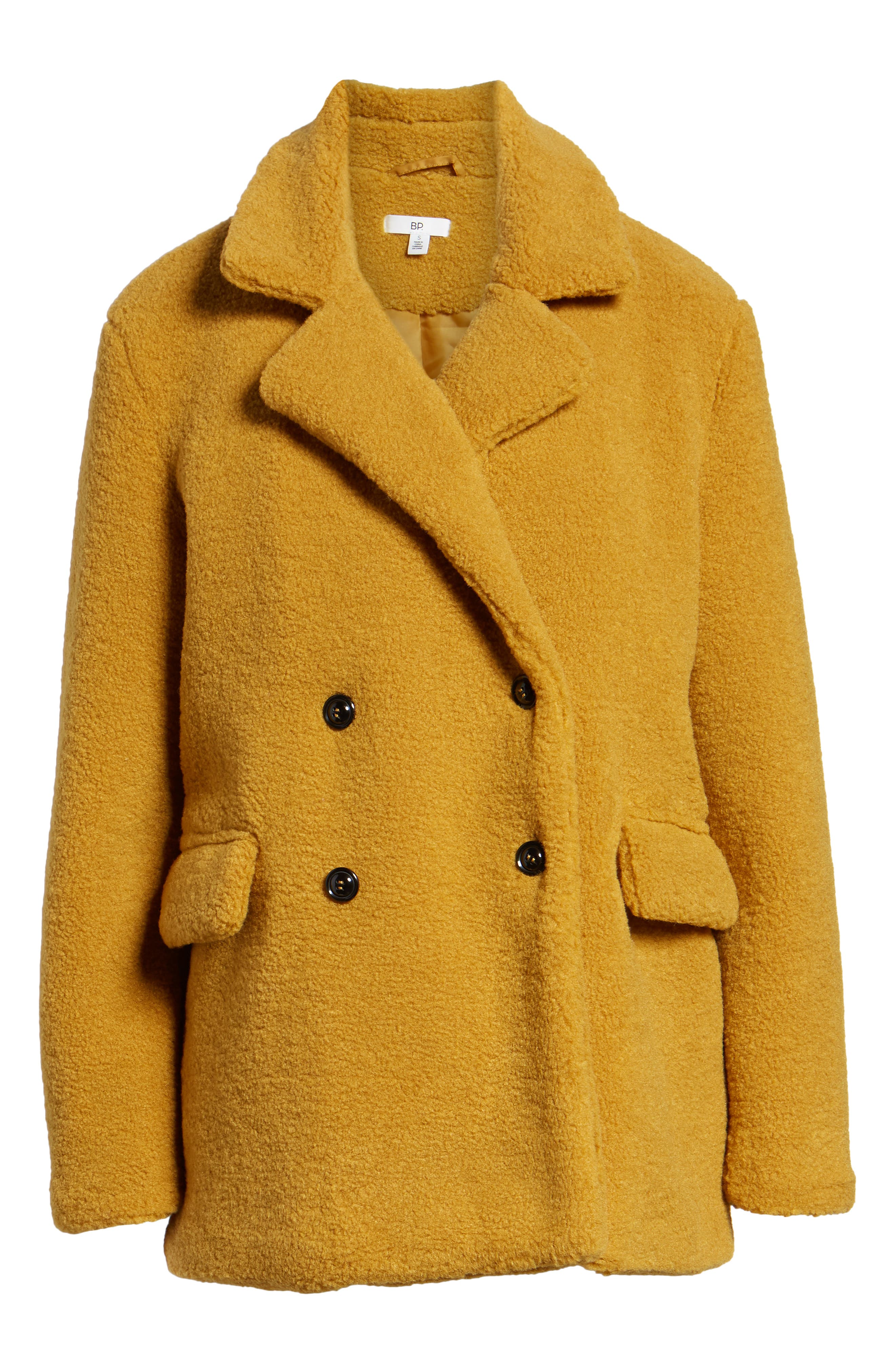 Textured Double Breasted Coat,                             Alternate thumbnail 6, color,                             YELLOW MINERAL