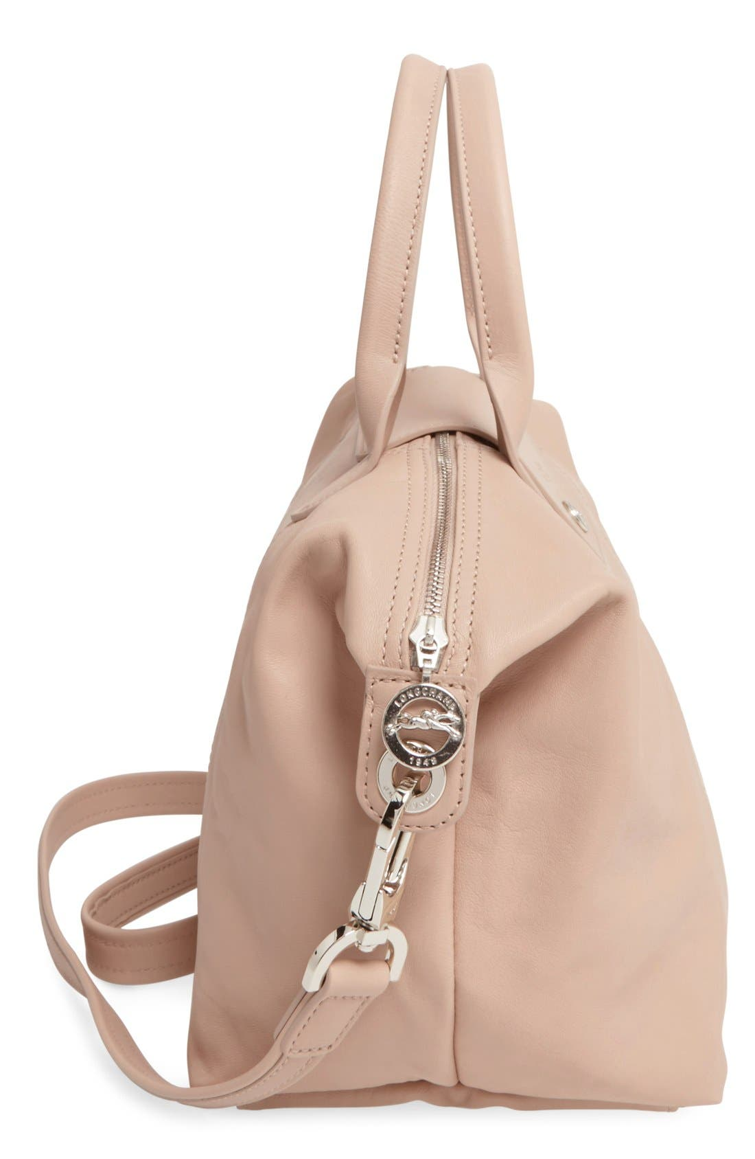 Small 'Le Pliage Cuir' Leather Top Handle Tote,                             Alternate thumbnail 73, color,
