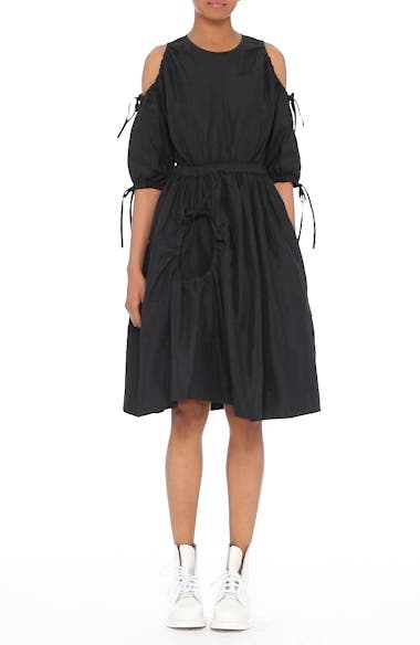 Cold Shoulder Drawstring Dress, video thumbnail