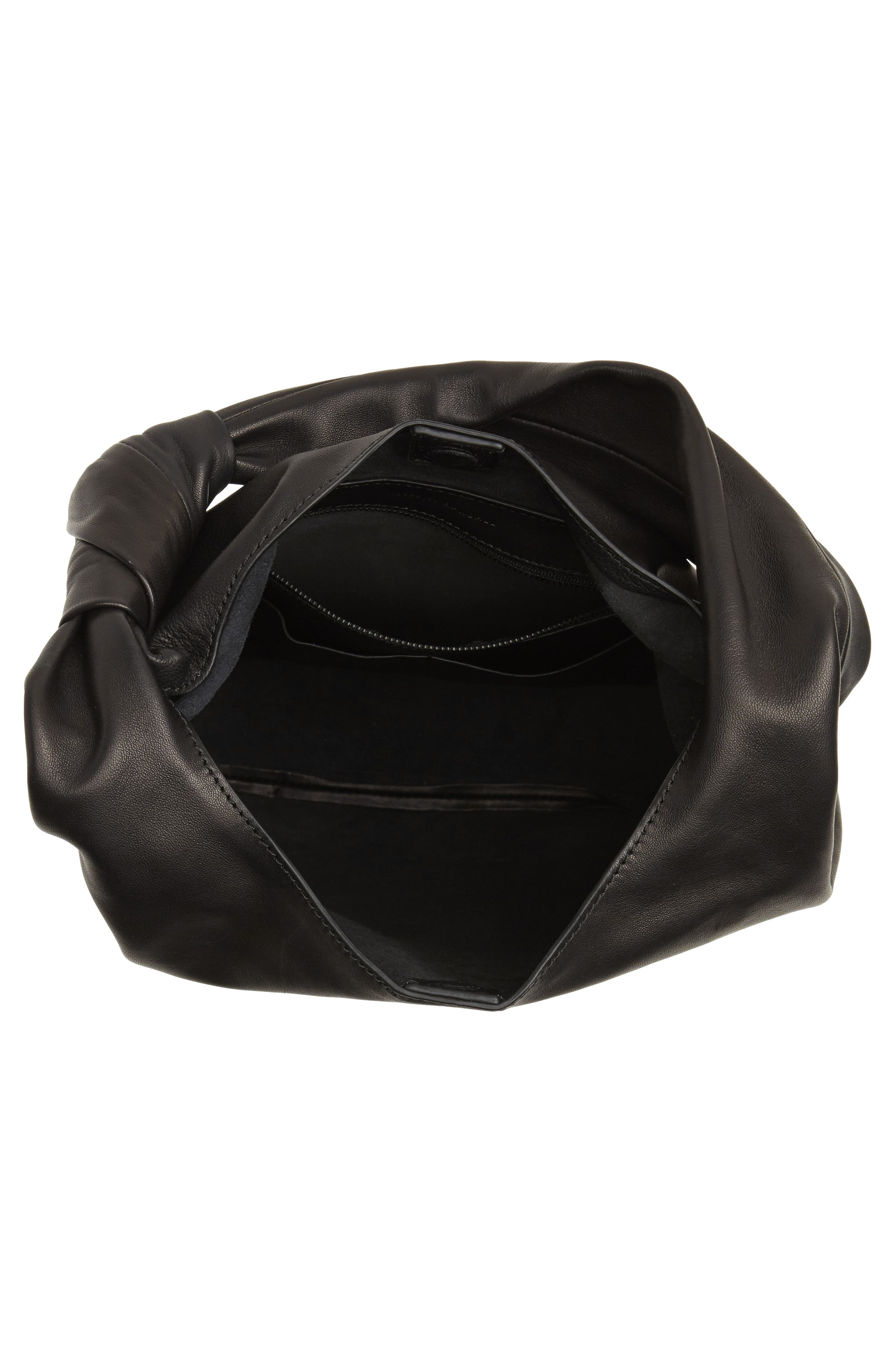 Knot Leather Tote,                             Alternate thumbnail 4, color,                             001