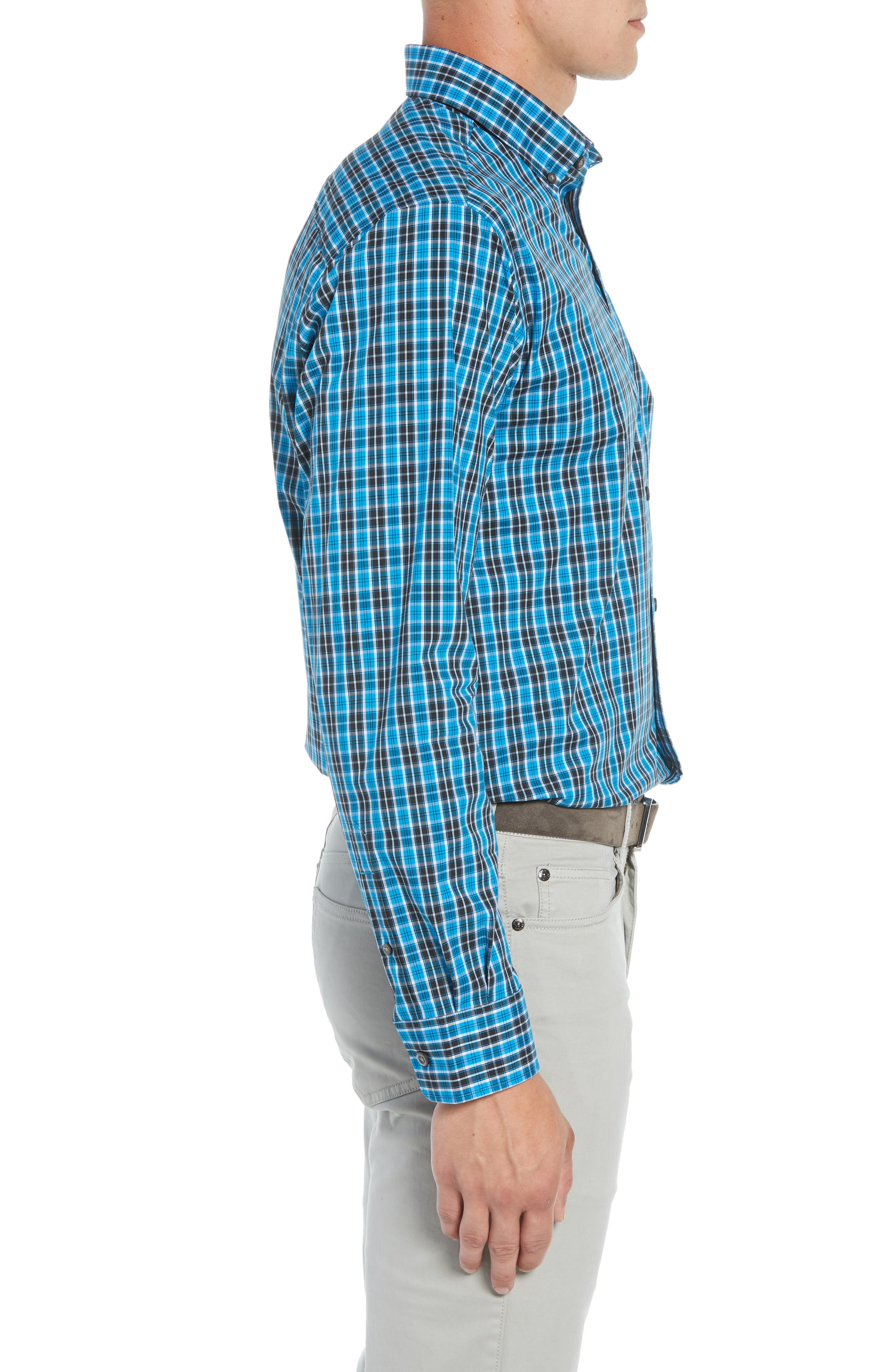 Ronald Regular Fit Plaid Performance Sport Shirt,                             Alternate thumbnail 4, color,                             ORBIT