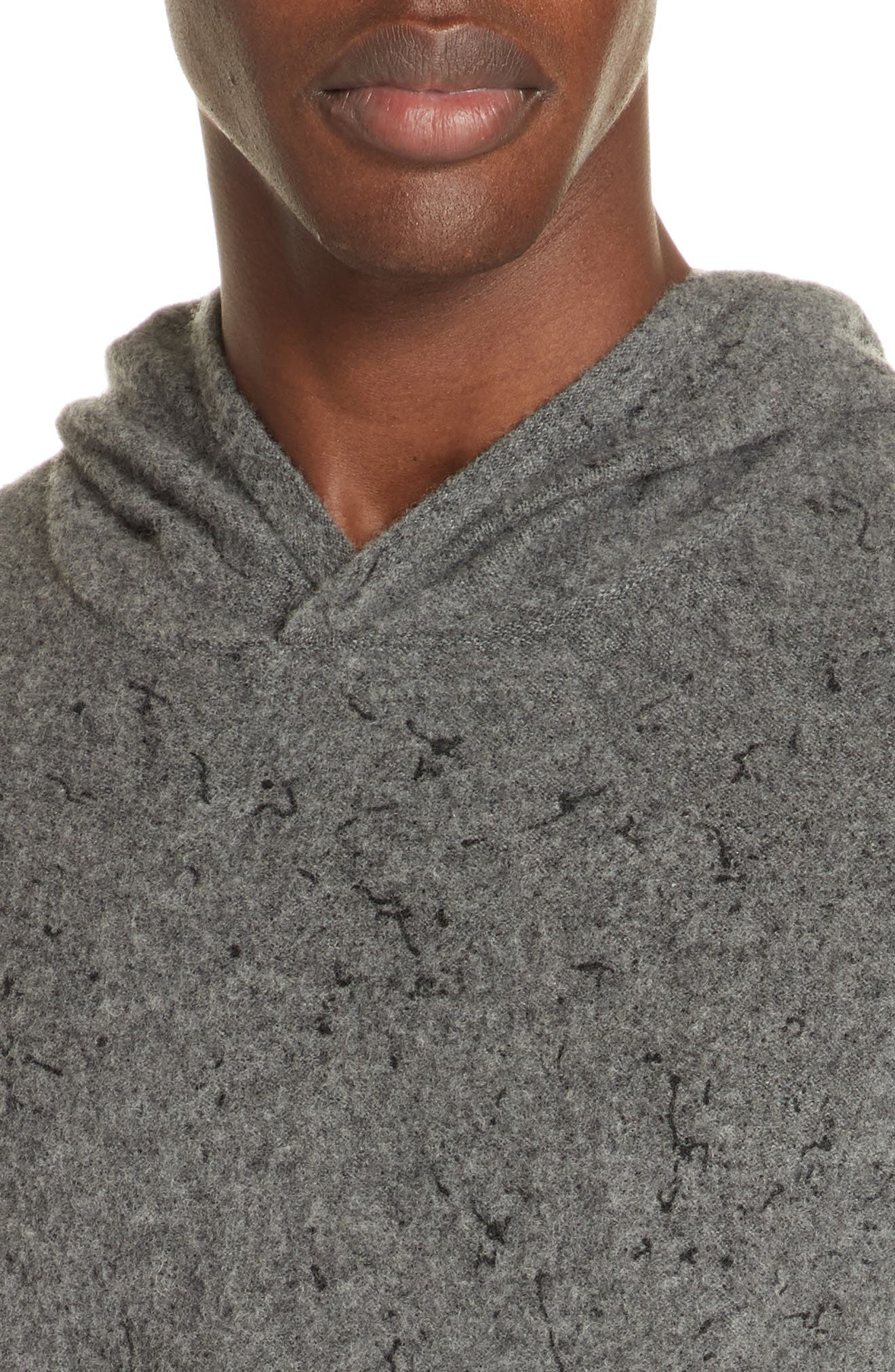 Wool Cashmere Hooded Sweater,                             Alternate thumbnail 4, color,                             SMOKE HEATHER