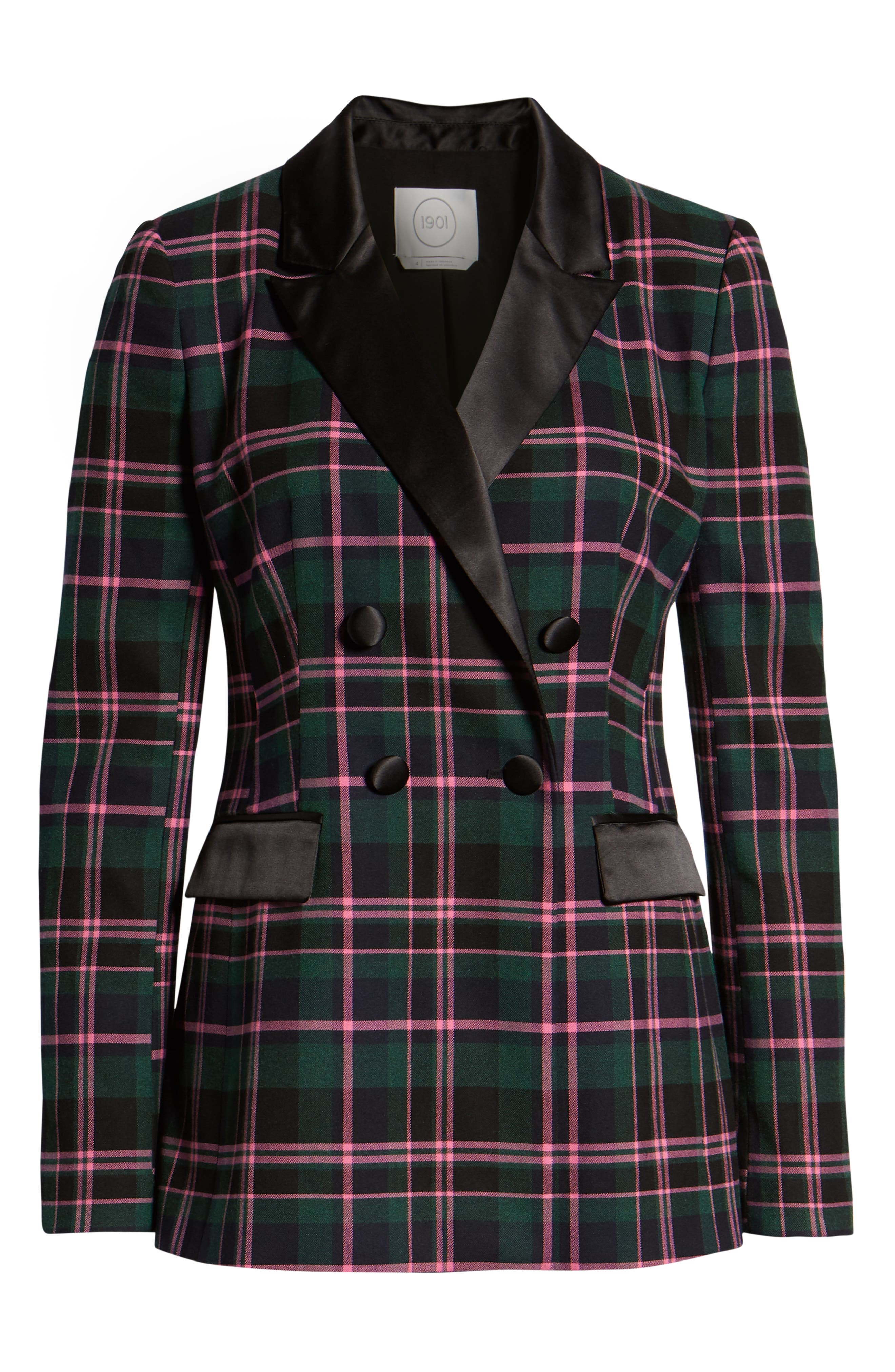 Double Breasted Plaid Blazer,                             Alternate thumbnail 5, color,                             301