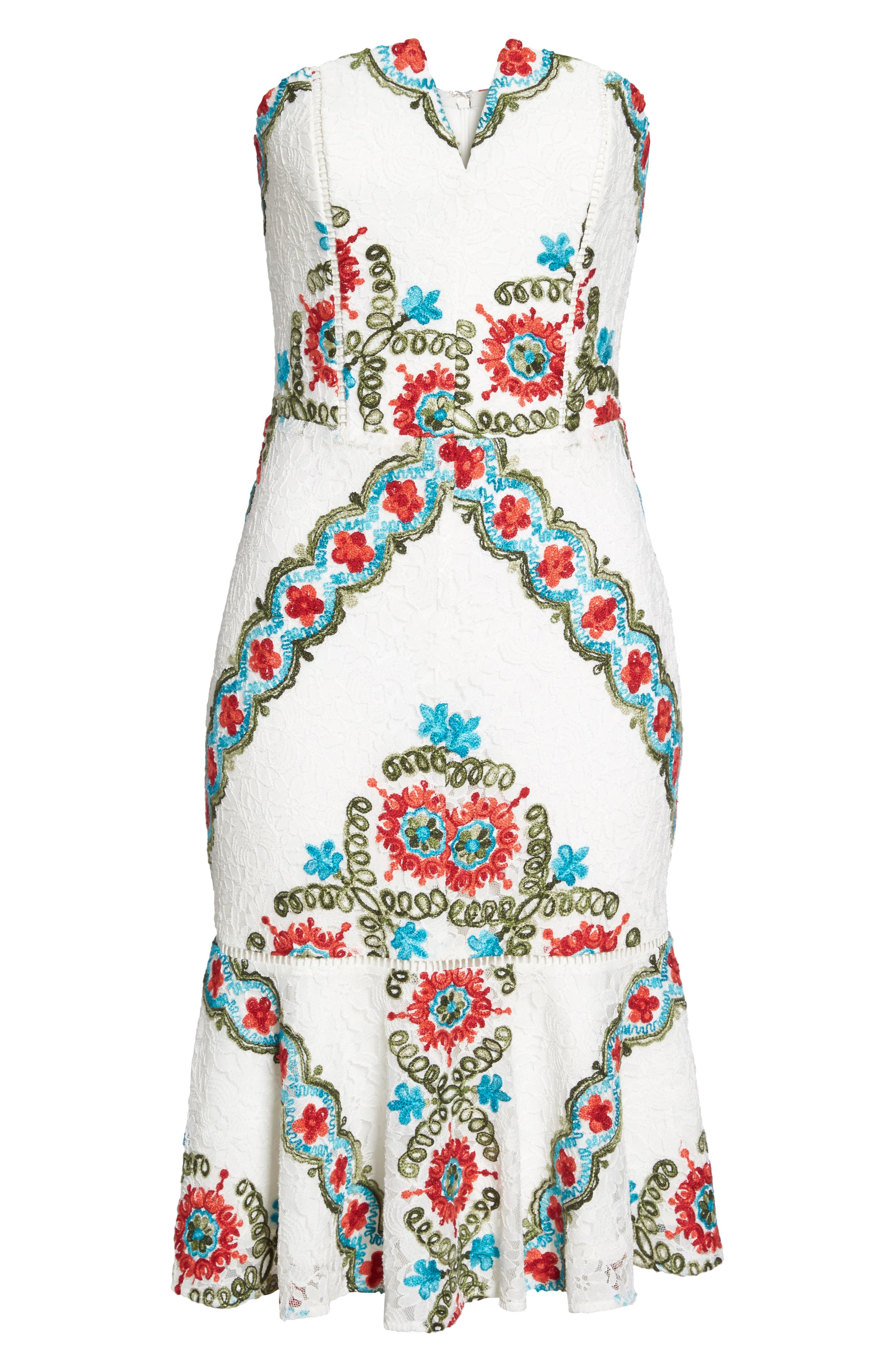 Hailey Embroidered Strapless Lace Dress,                             Alternate thumbnail 6, color,                             100