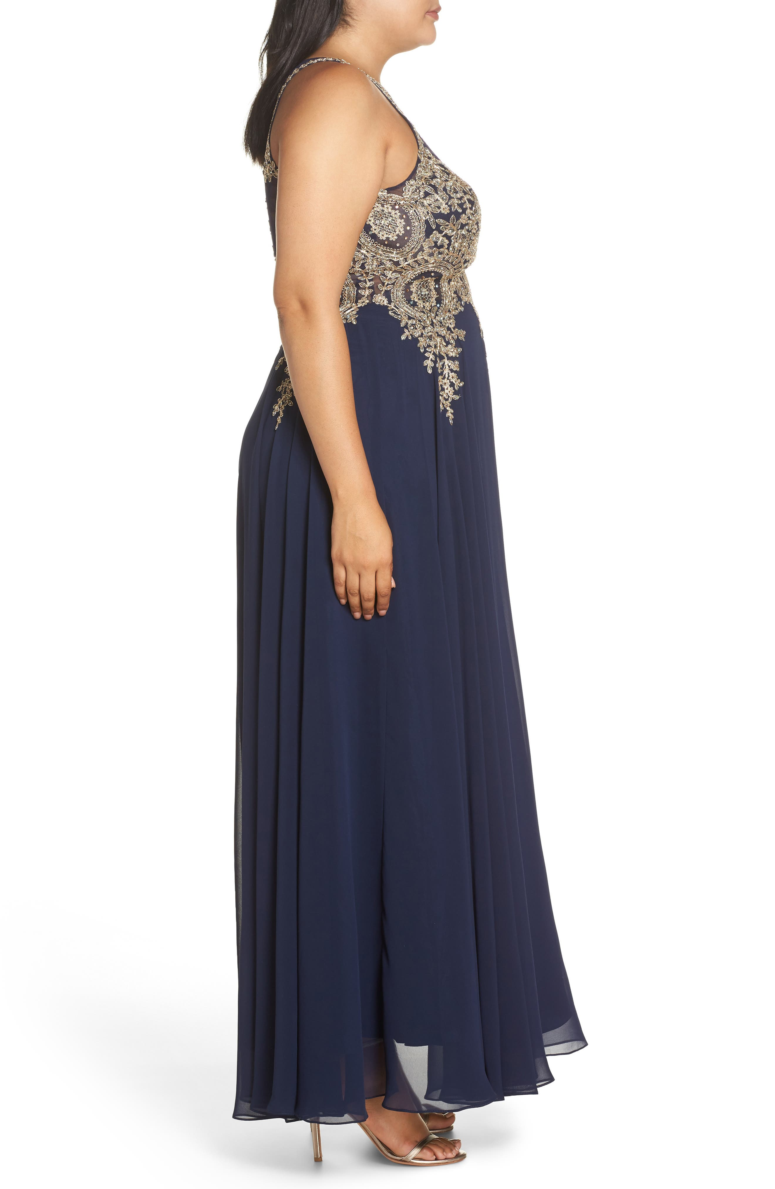 Metallic Embroidered Gown,                             Alternate thumbnail 3, color,                             NAVY/ GOLD