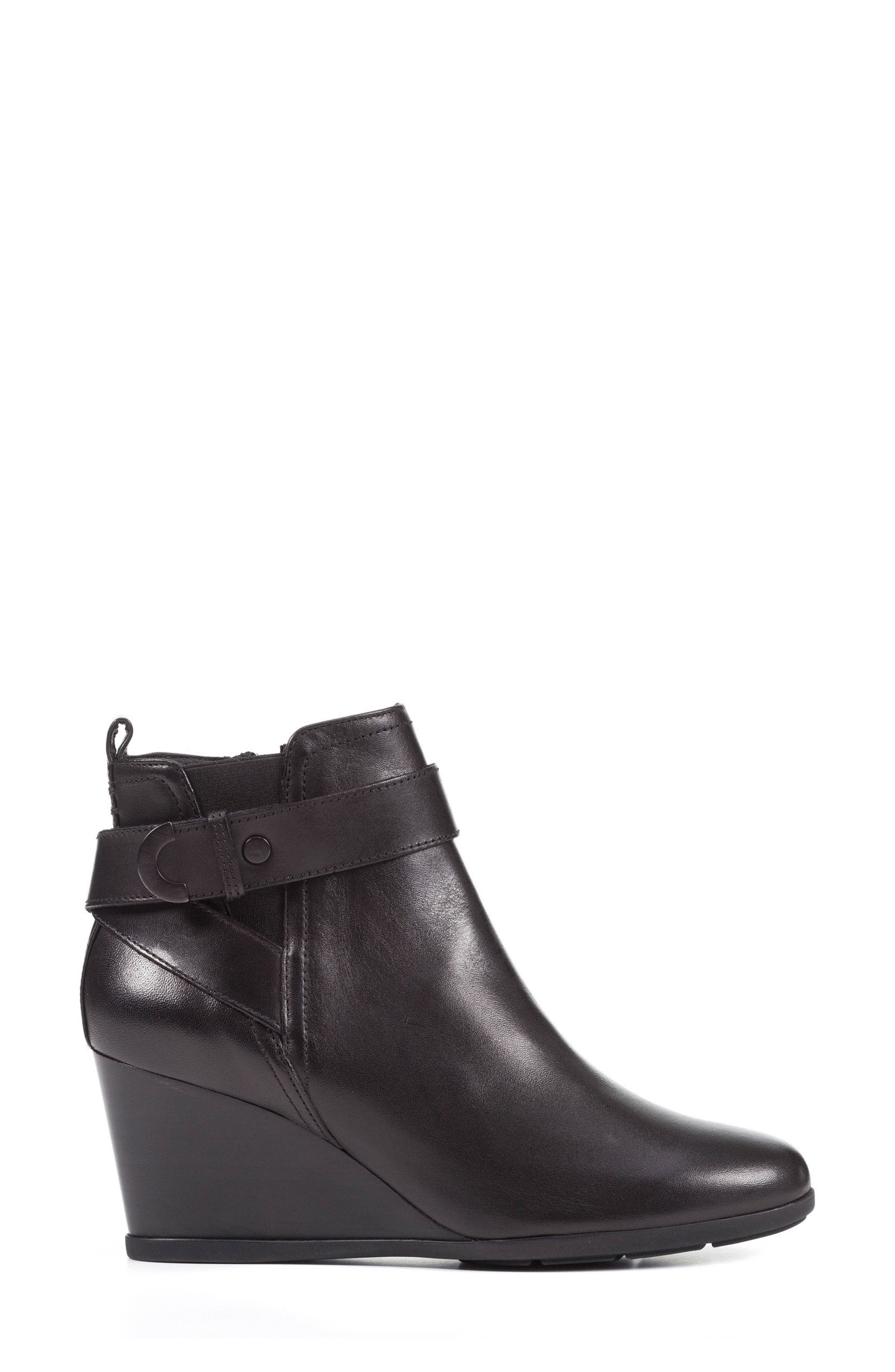 Inspiration Buckle Wedge Bootie,                             Alternate thumbnail 3, color,                             001