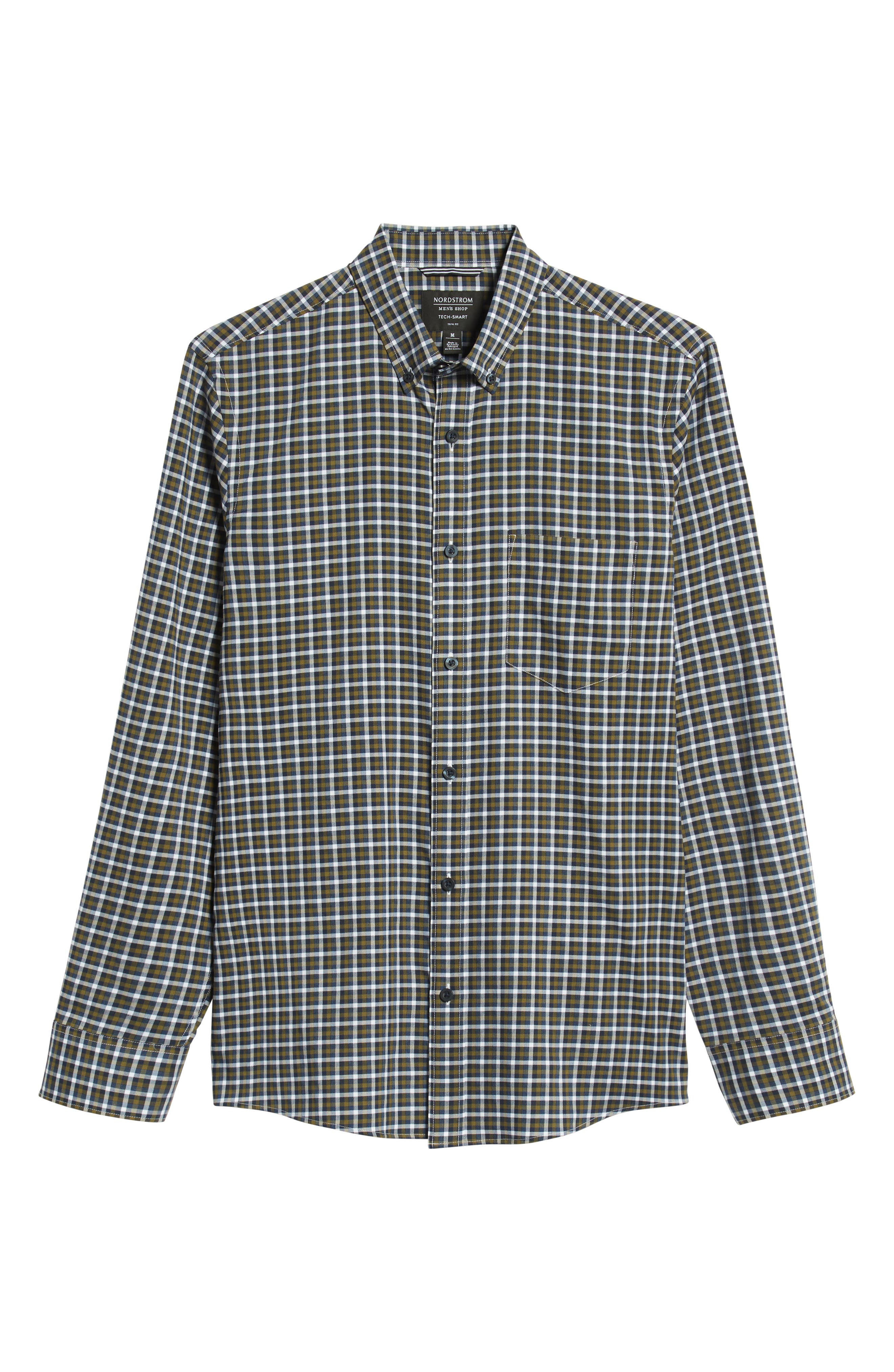 Tech-Smart Slim Fit Check Sport Shirt,                             Alternate thumbnail 5, color,                             NAVY NIGHT OLIVE CHECK