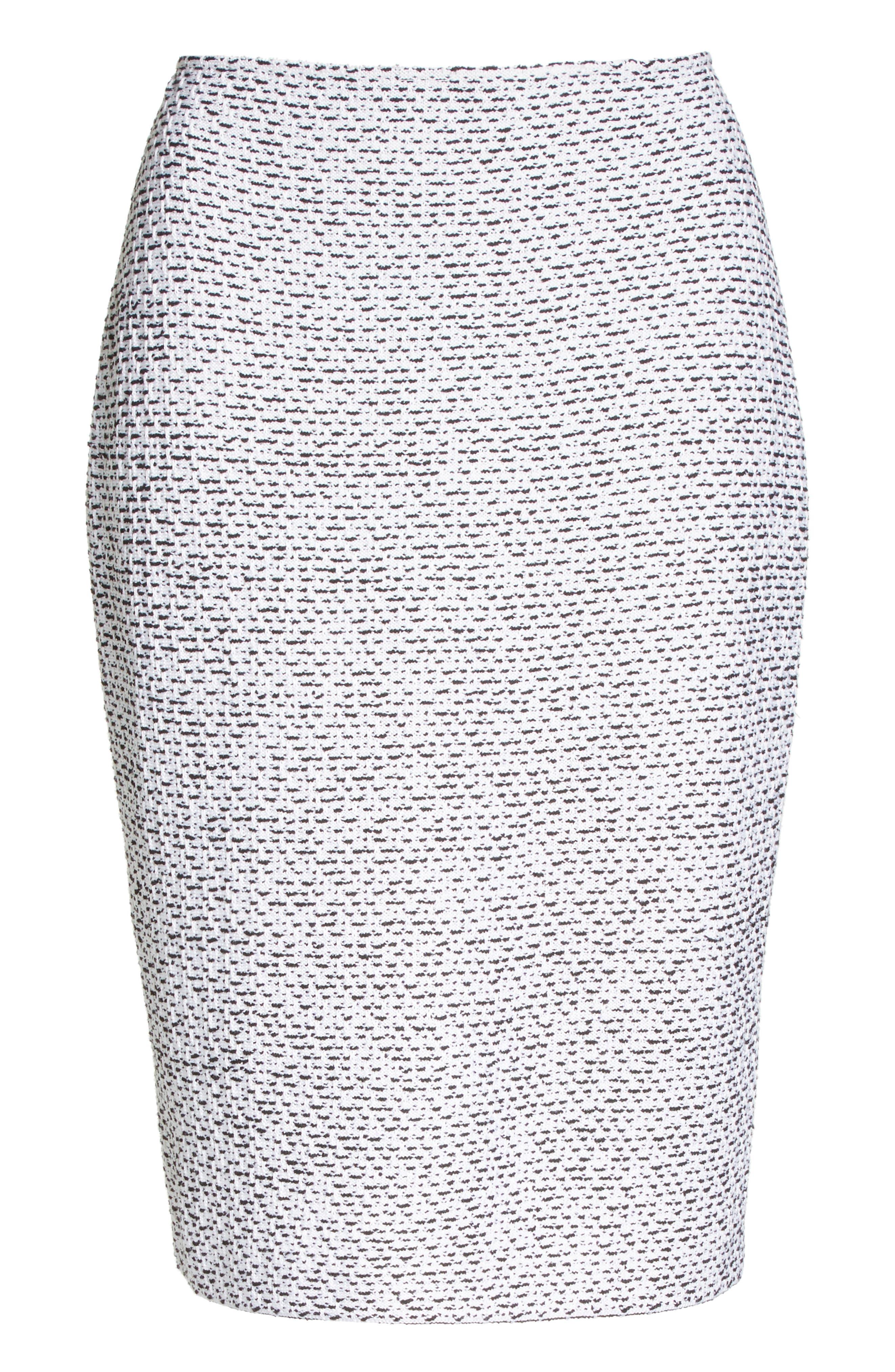 Olivia Bouclé Knit Skirt,                             Alternate thumbnail 7, color,                             WHITE/ CAVIAR