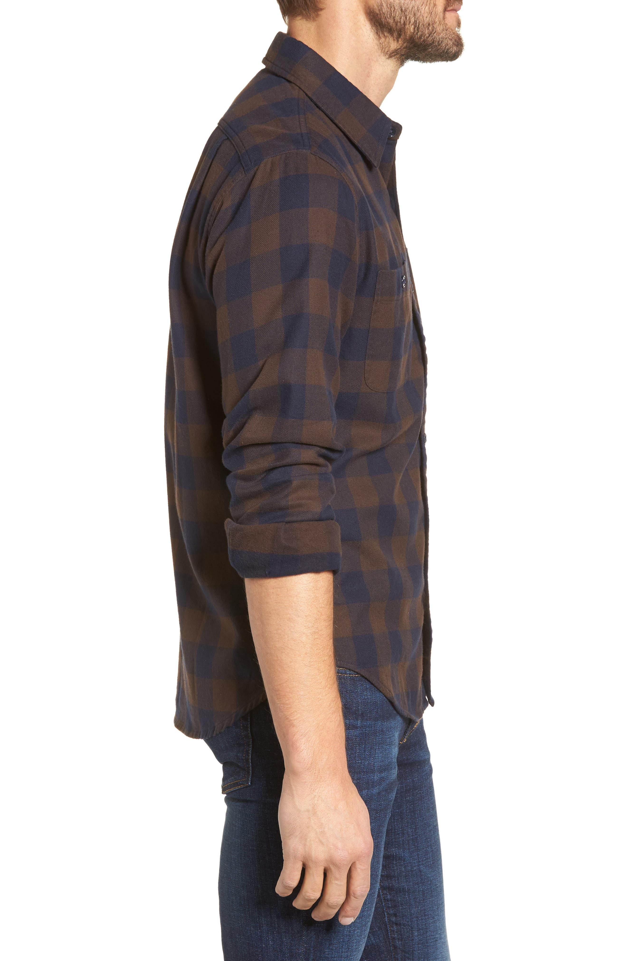 Slim Fit Check Flannel Shirt,                             Alternate thumbnail 3, color,                             400