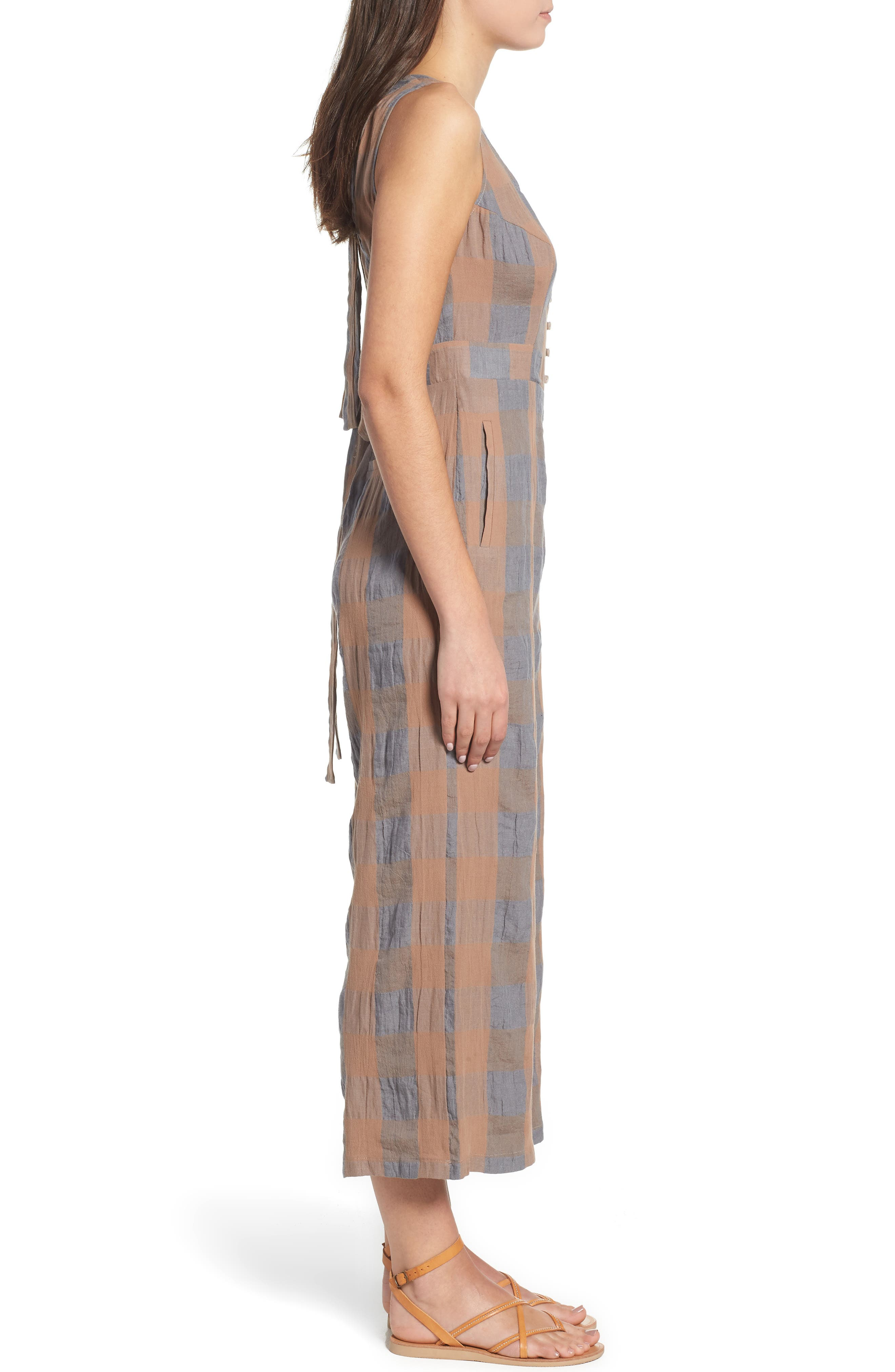 Frankie Check Linen Blend Jumpsuit,                             Alternate thumbnail 3, color,                             SMOKE AND BISCUIT