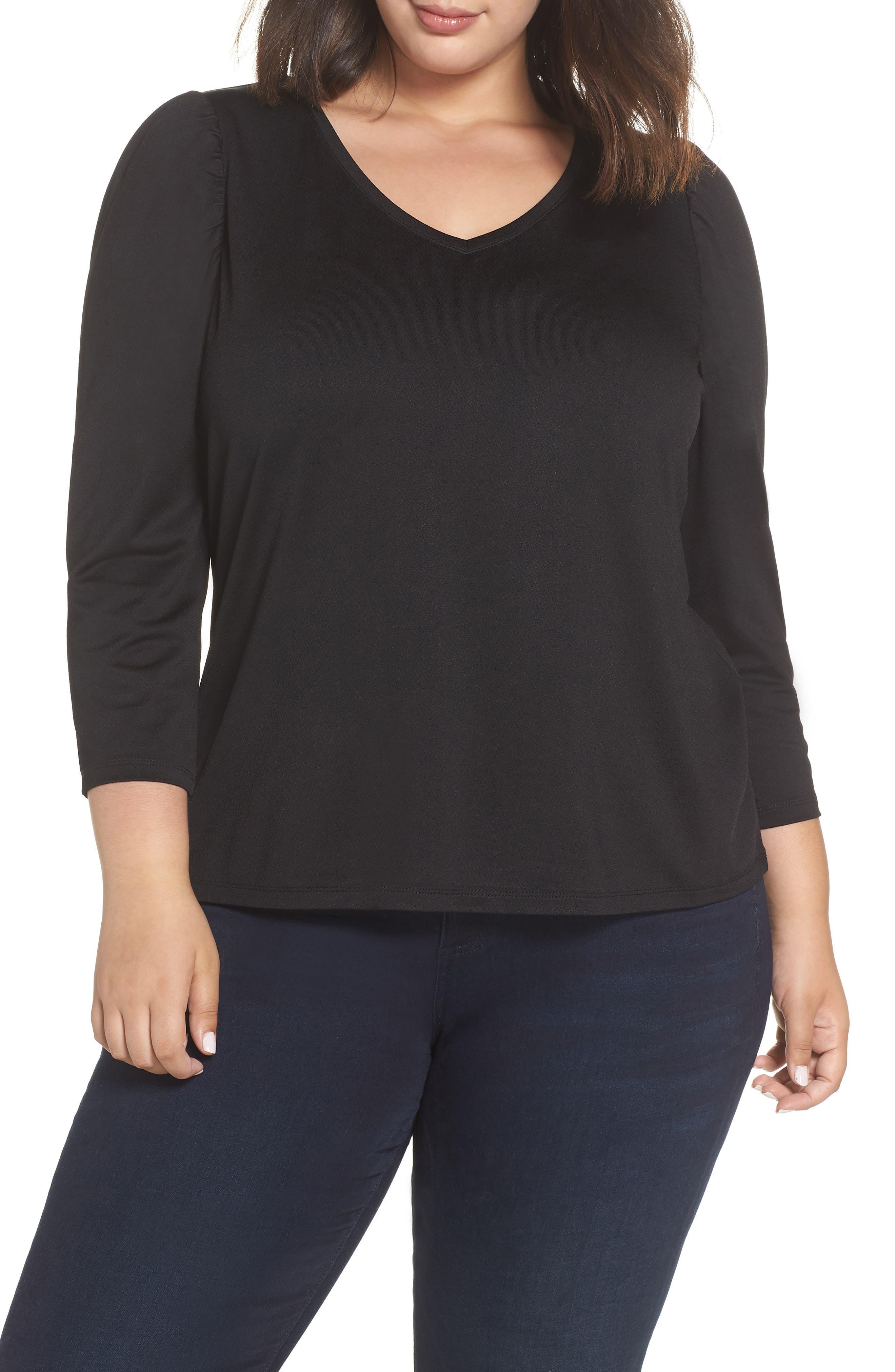 V-Neck Puff Shoulder Top,                         Main,                         color, 001